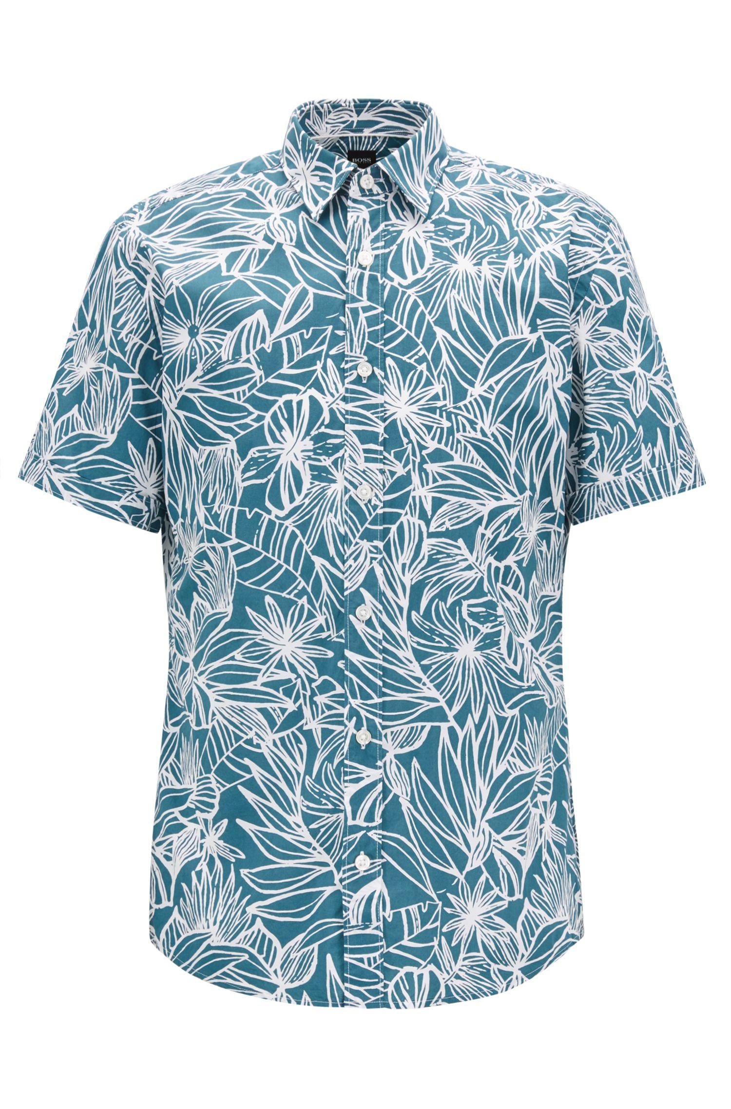Slim-Fit Hemd aus gewaschener Baumwolle mit Blumenmuster, Dunkelgrün