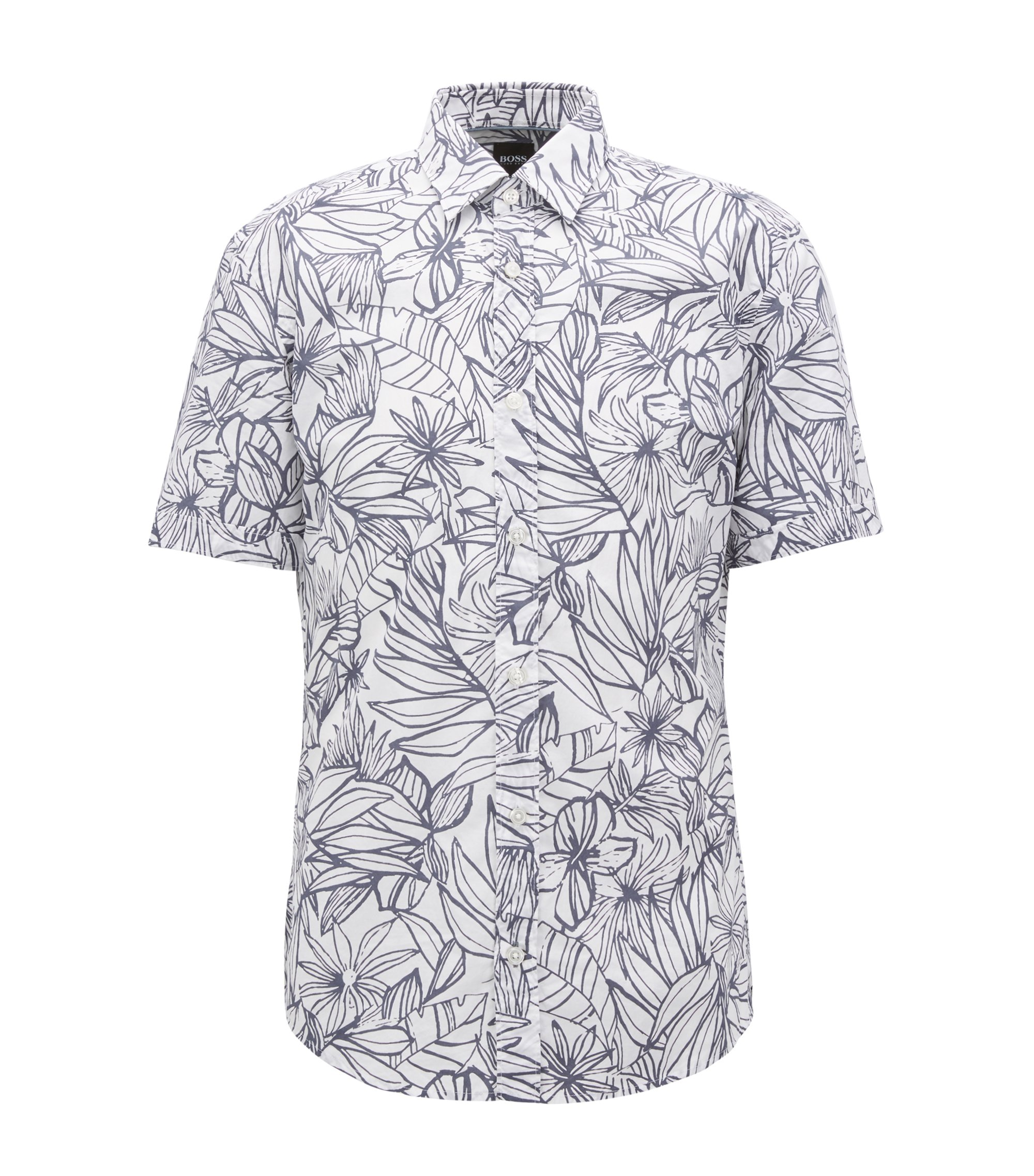 Floral-print slim-fit shirt in washed cotton, Light Blue