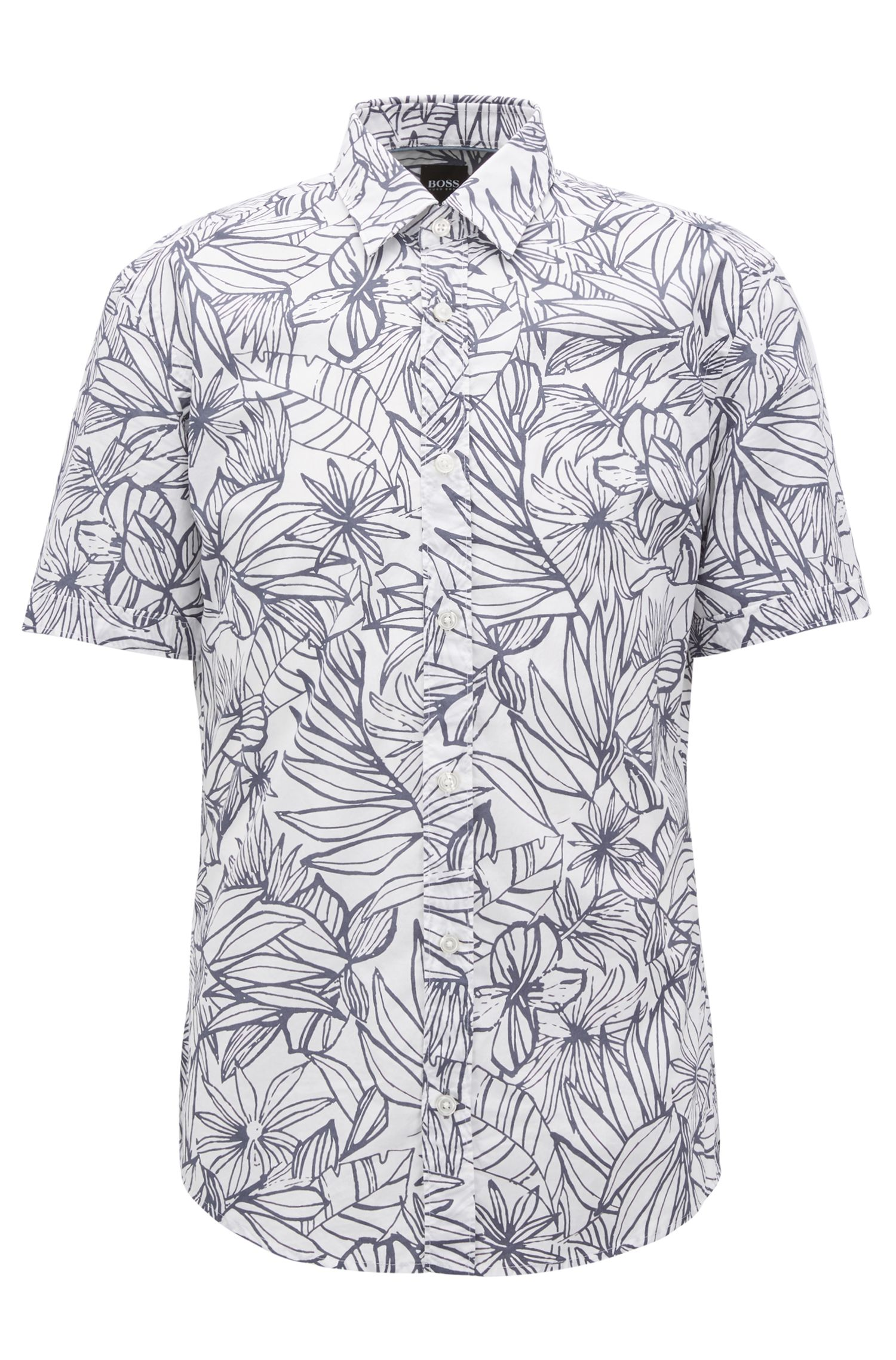 Floral-print slim-fit shirt in washed cotton