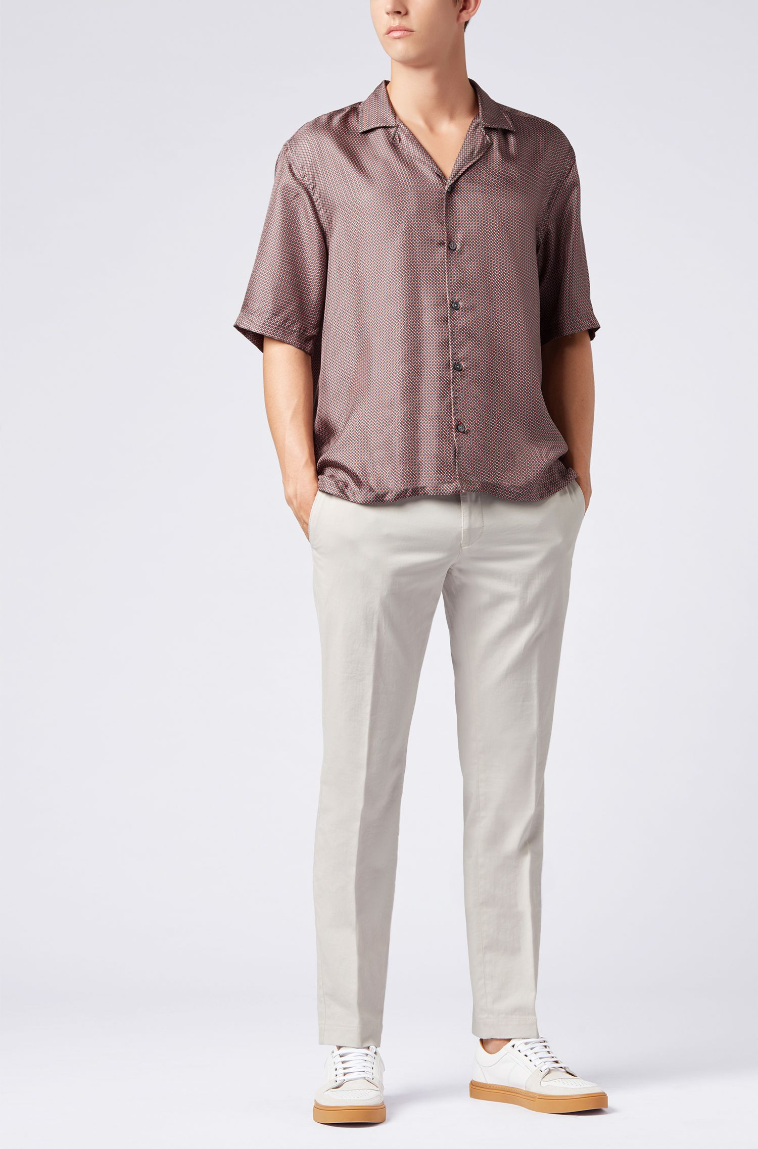 Relaxed-fit shirt in printed Italian silk, Grey