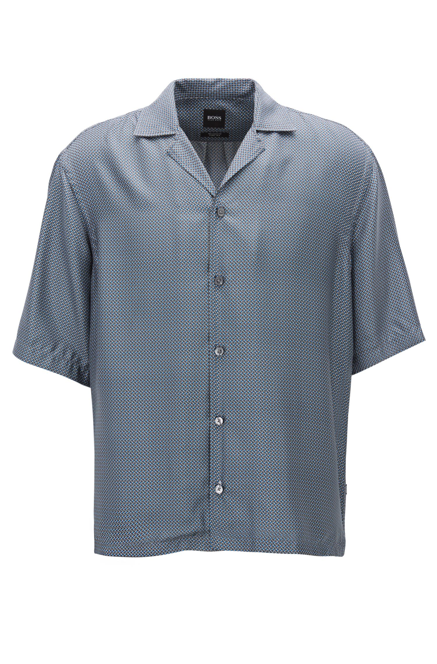 Relaxed-fit shirt in printed Italian silk, Open Blue