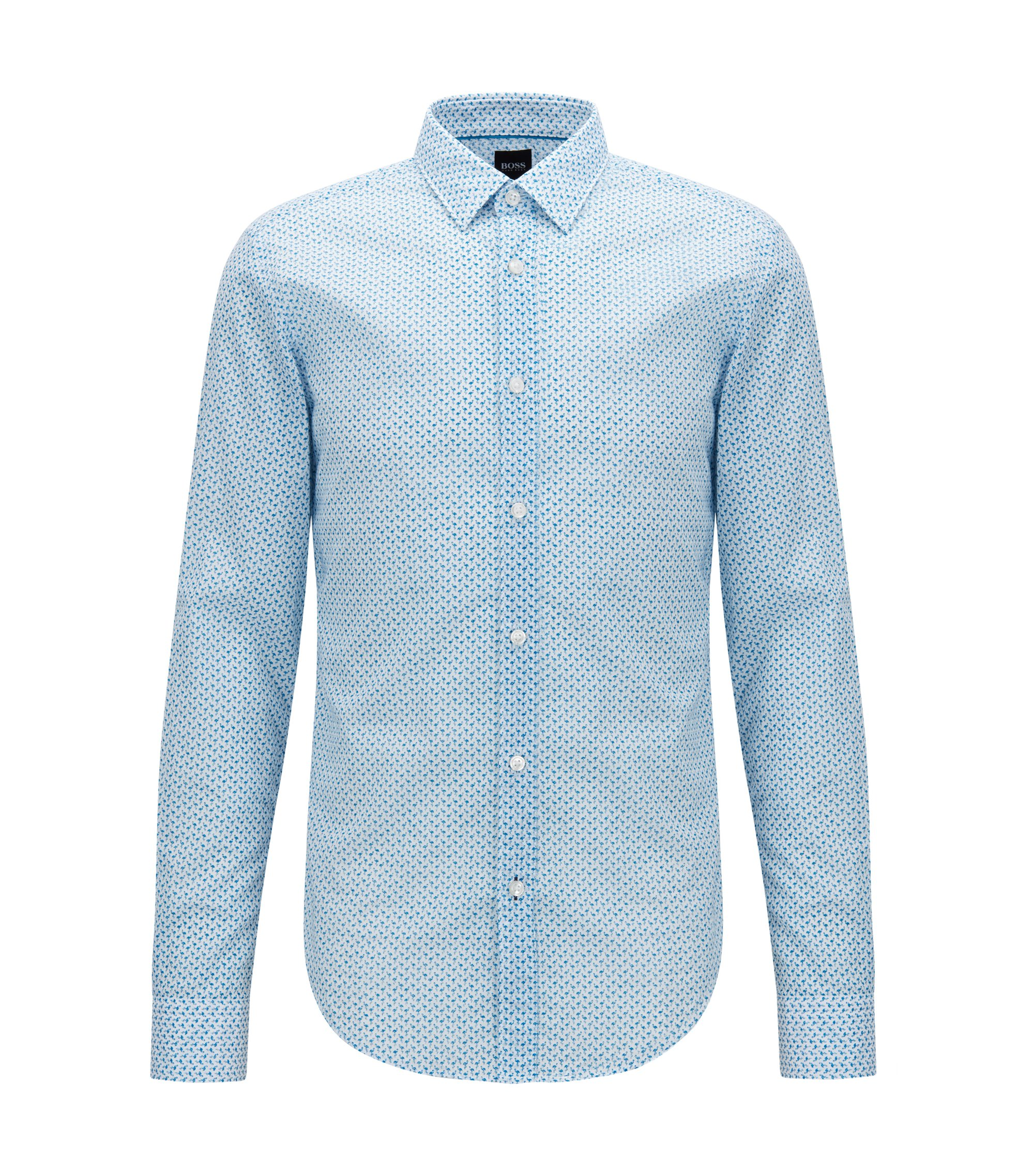 Slim-fit cotton shirt with flamingo print, Blue