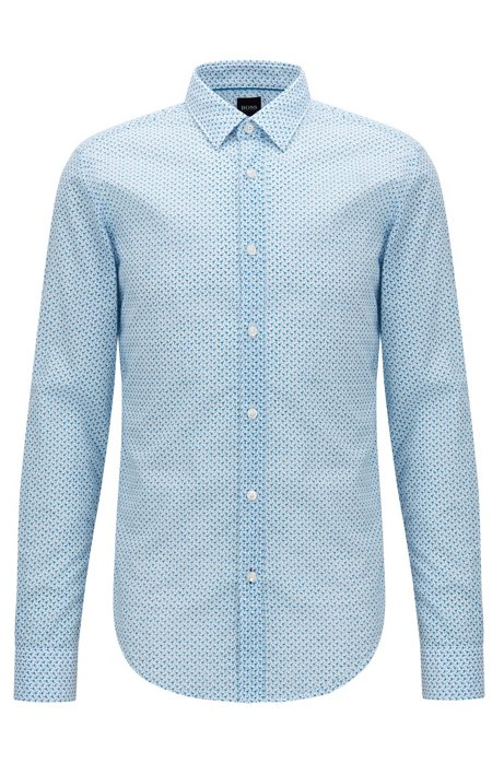 Slim-fit cotton shirt with flamingo print