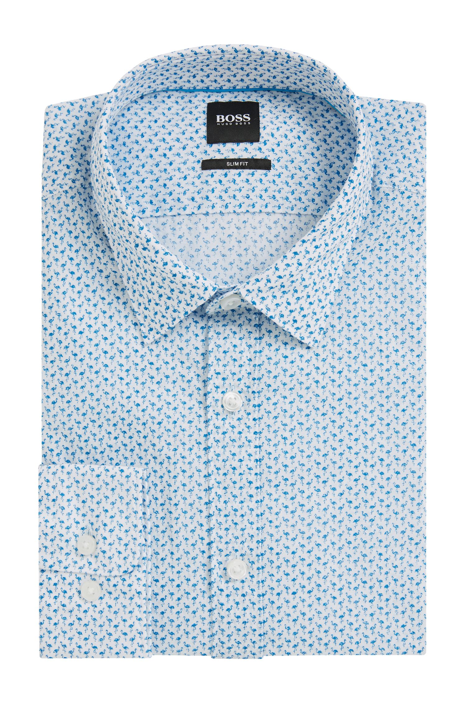 Slim-fit cotton shirt with flamingo print