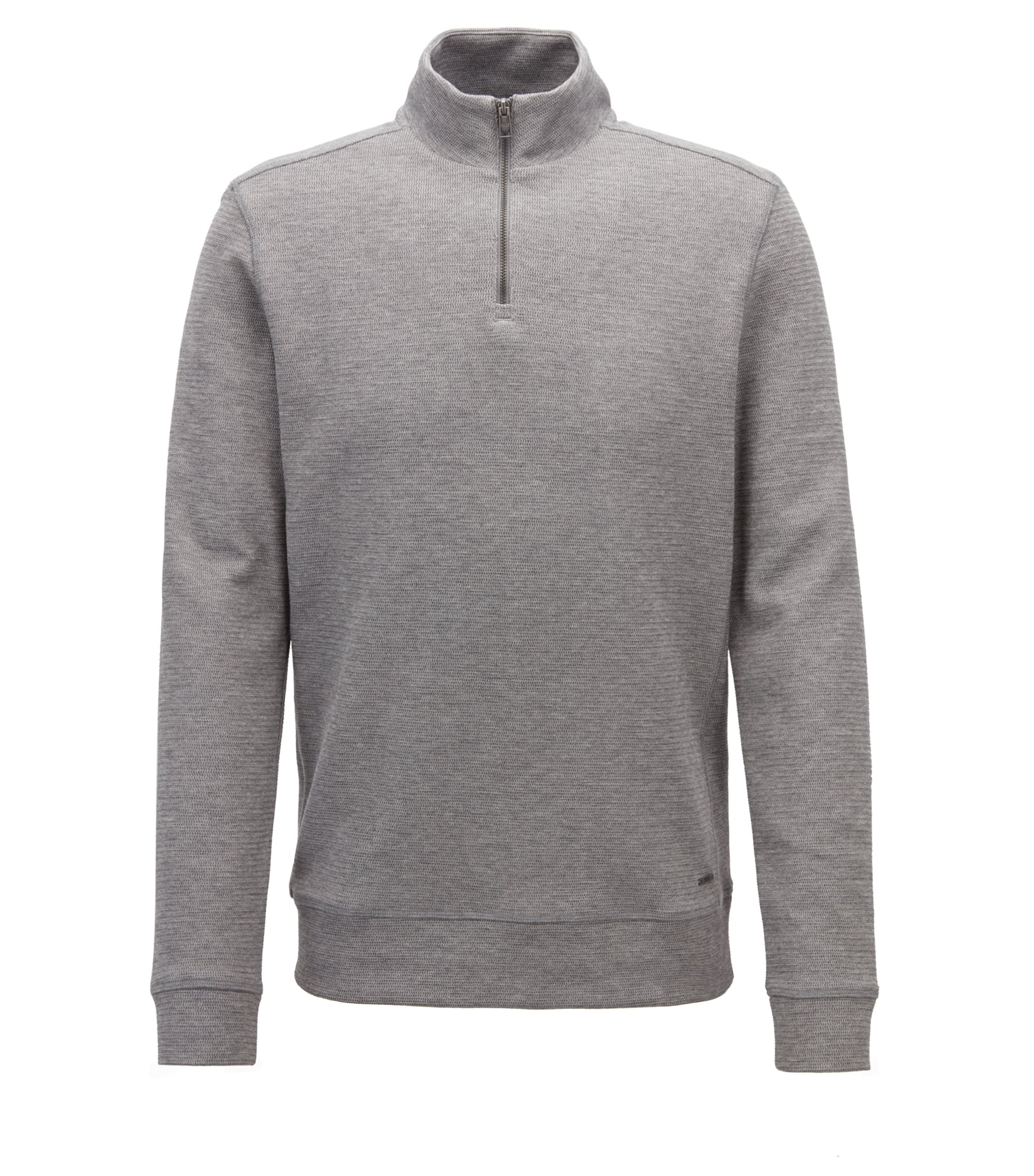 Zip-neck sweatshirt in two-tone cotton-blend jacquard, Grey