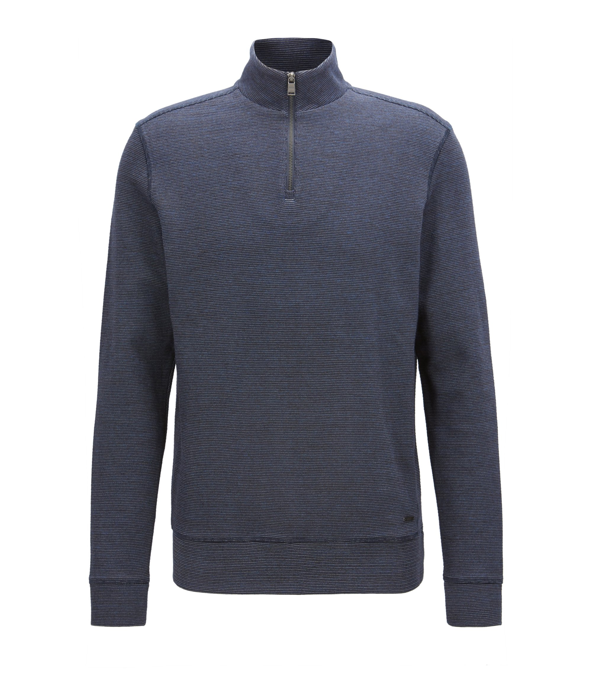 Zip-neck sweatshirt in two-tone cotton-blend jacquard, Dark Blue