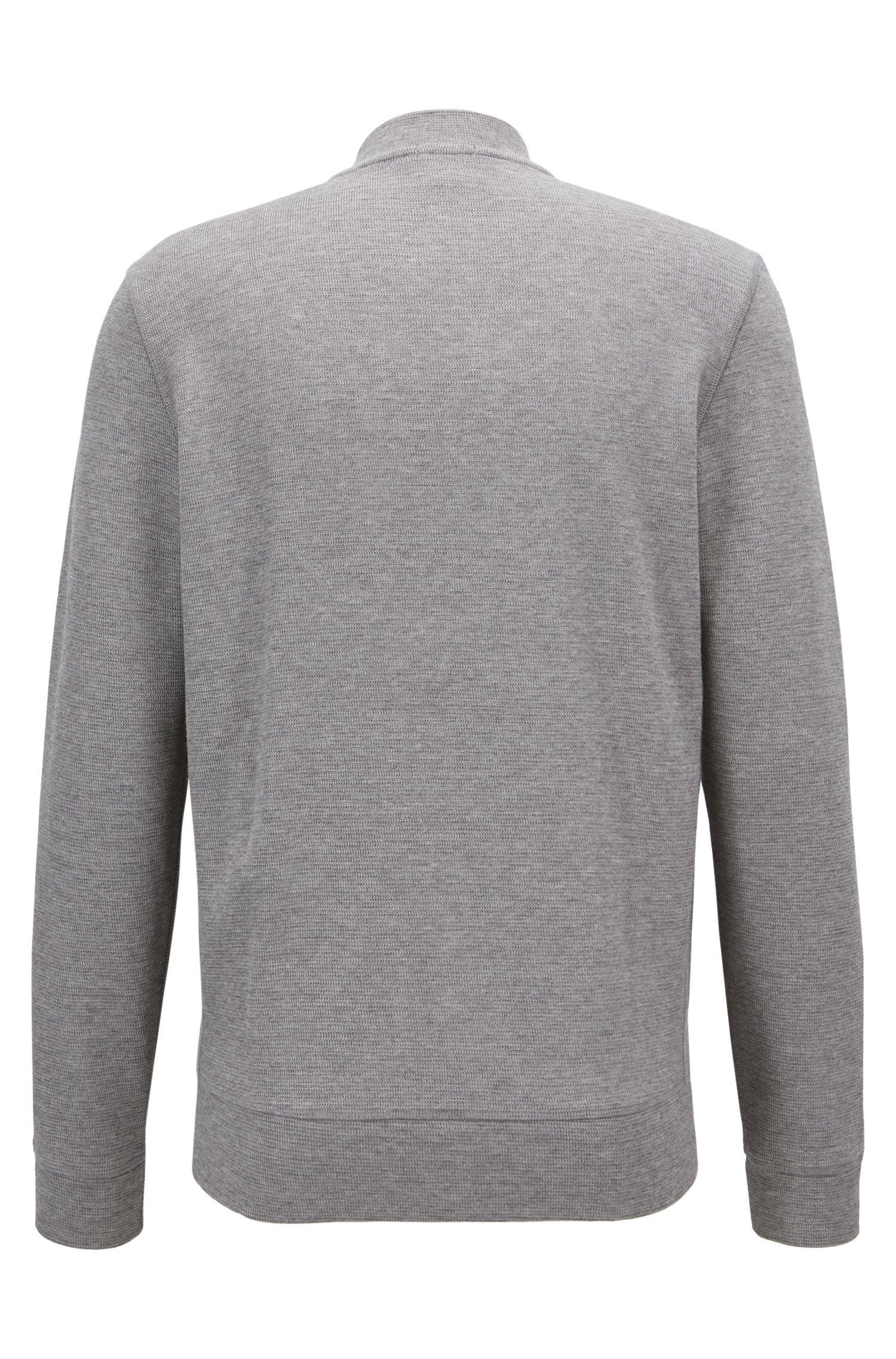 Sweater van een katoenmix met ritssluiting en collegekraag
