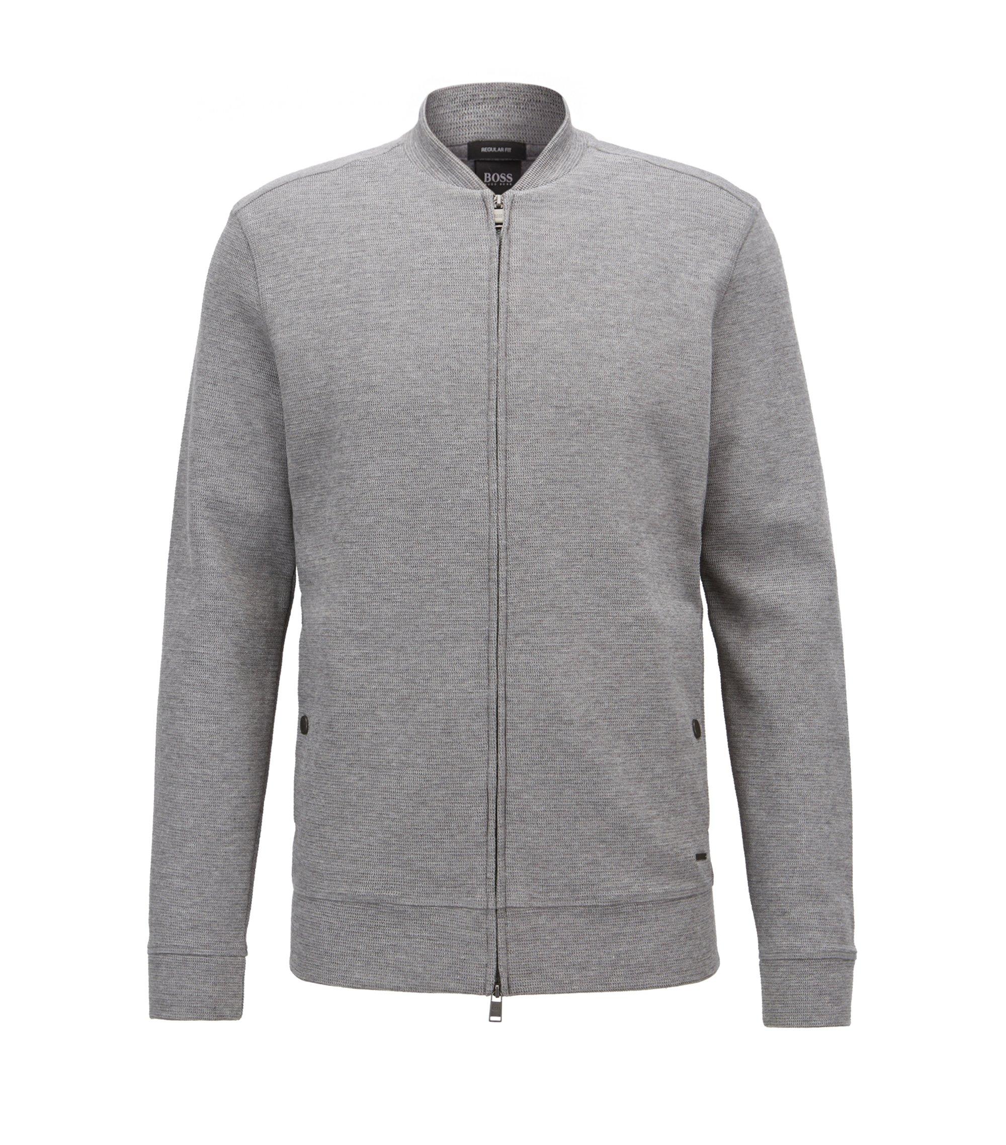 Sweatshirt aus Baumwoll-Mix mit Reißverschluss und College-Kragen, Grau