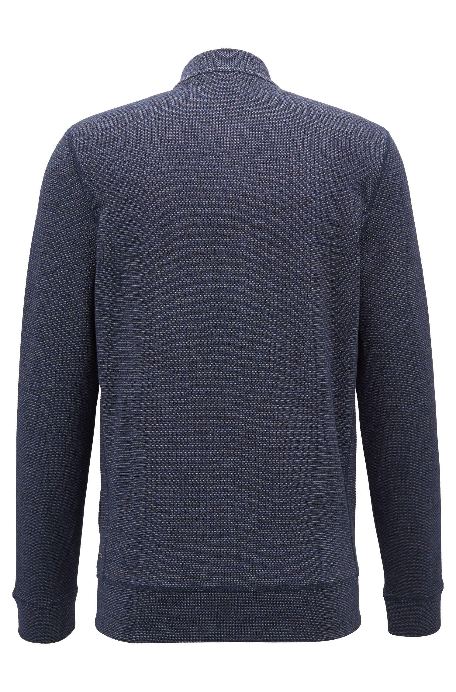Sweat zippé en coton mélangé avec col teddy, Bleu foncé