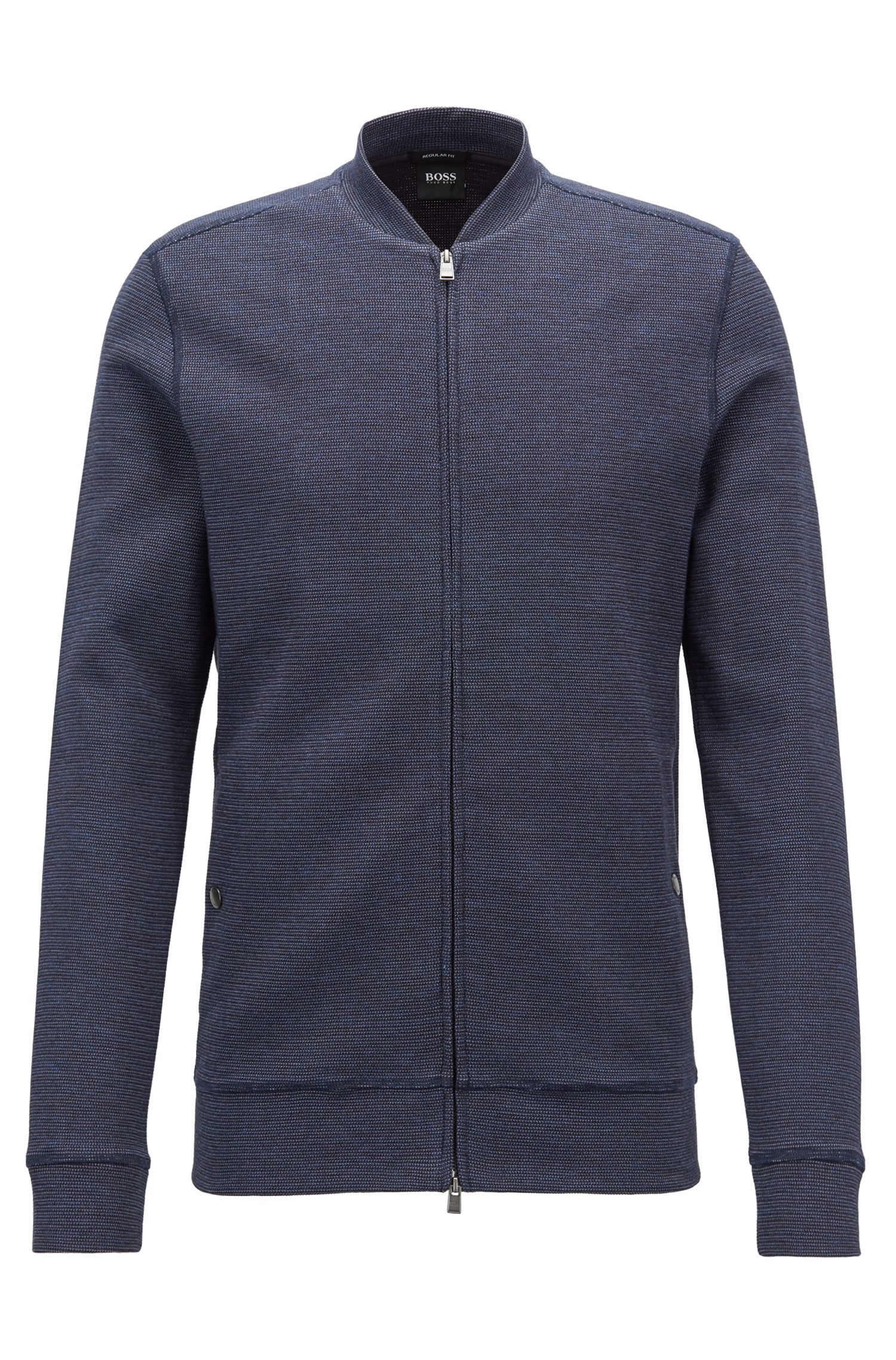 Zip-through cotton-blend sweatshirt with college collar, Dark Blue