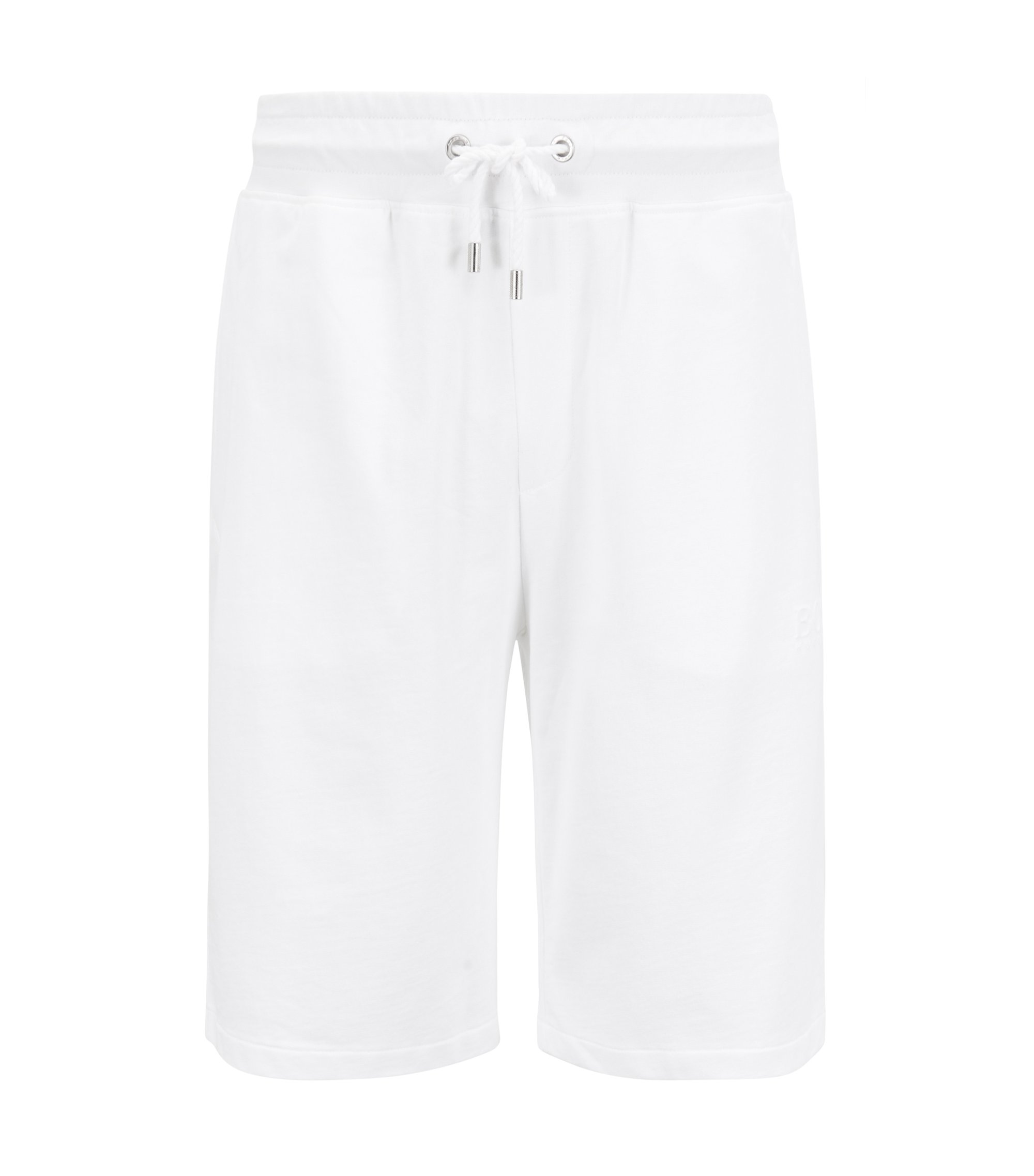 Loungewear shorts in French terry with embossed logo, White
