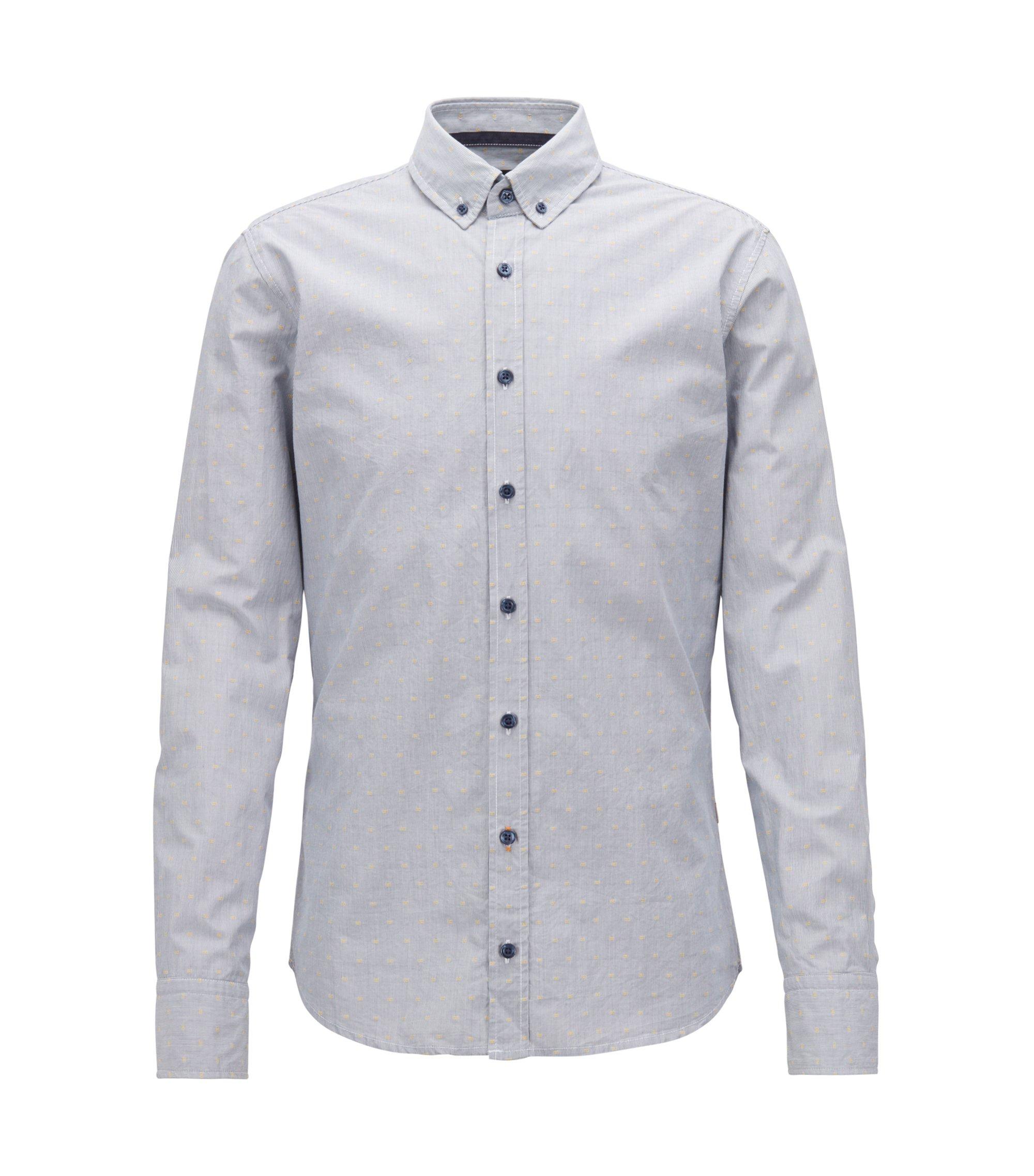 Slim-Fit Hemd aus strukturierter Baumwolle mit Streifen-Muster, Blau