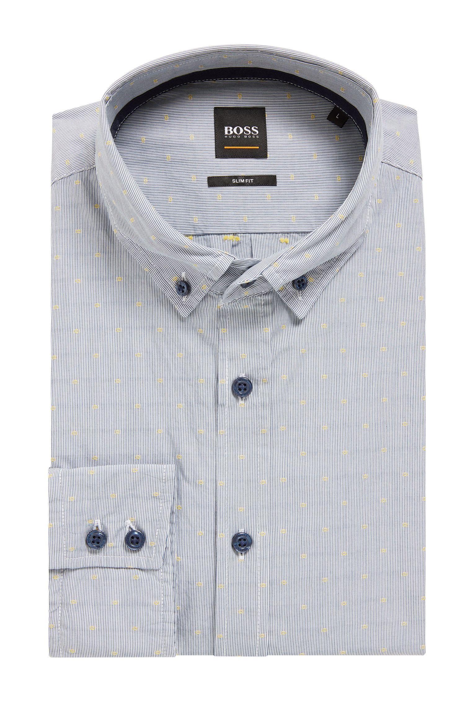 Slim-fit overhemd van gestreepte dobbykatoen, Blauw