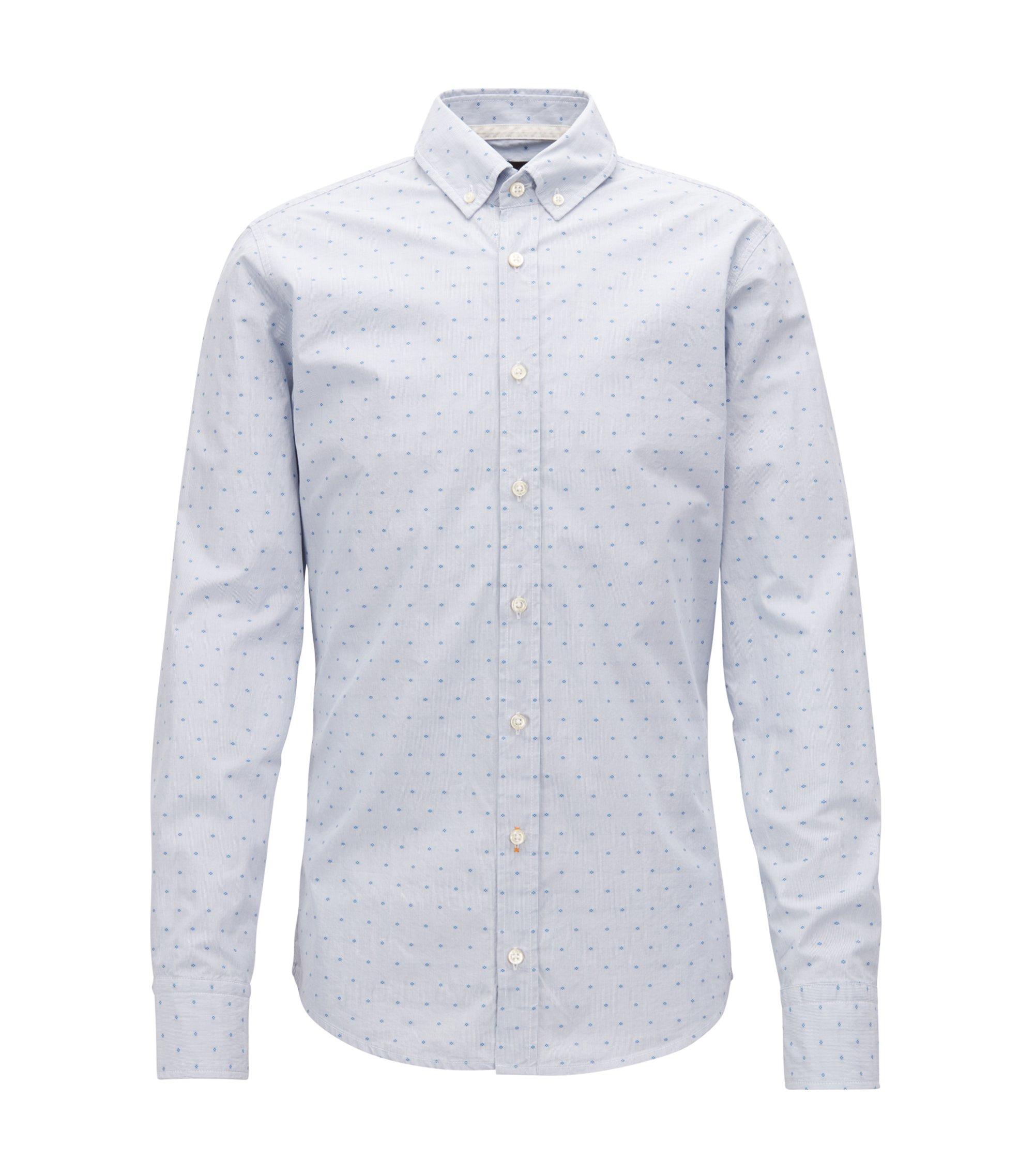 Slim-Fit Hemd aus strukturierter Baumwolle mit Streifen-Muster, Hellblau