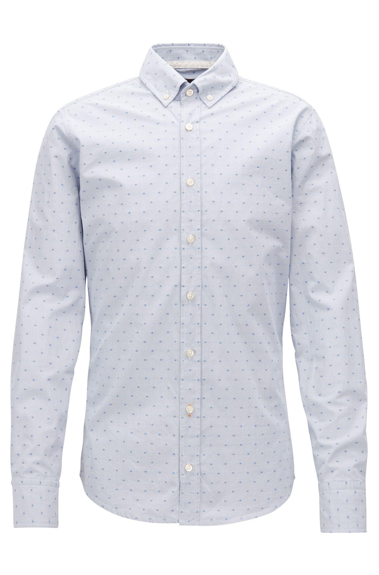 Slim-fit overhemd van gestreepte dobbykatoen, Lichtblauw