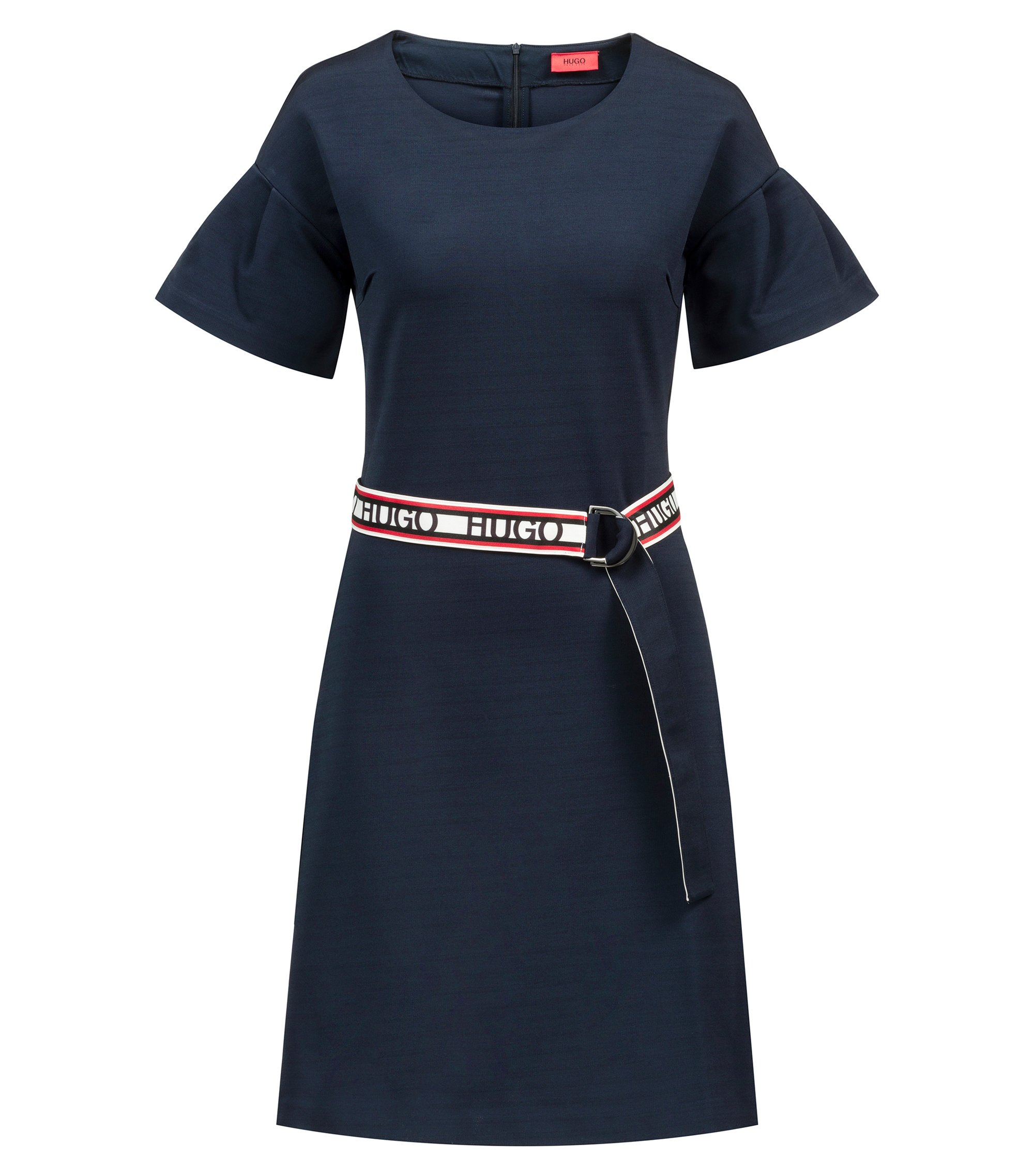 Tulip-sleeve jersey dress with reversible logo-tape belt, Dark Blue