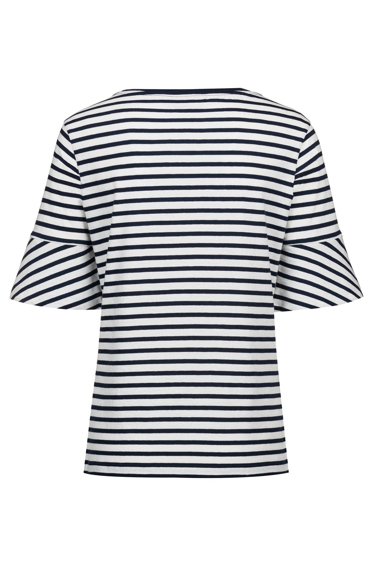 Trumpet-sleeve T-shirt in cotton with woven stripe, Dark Blue