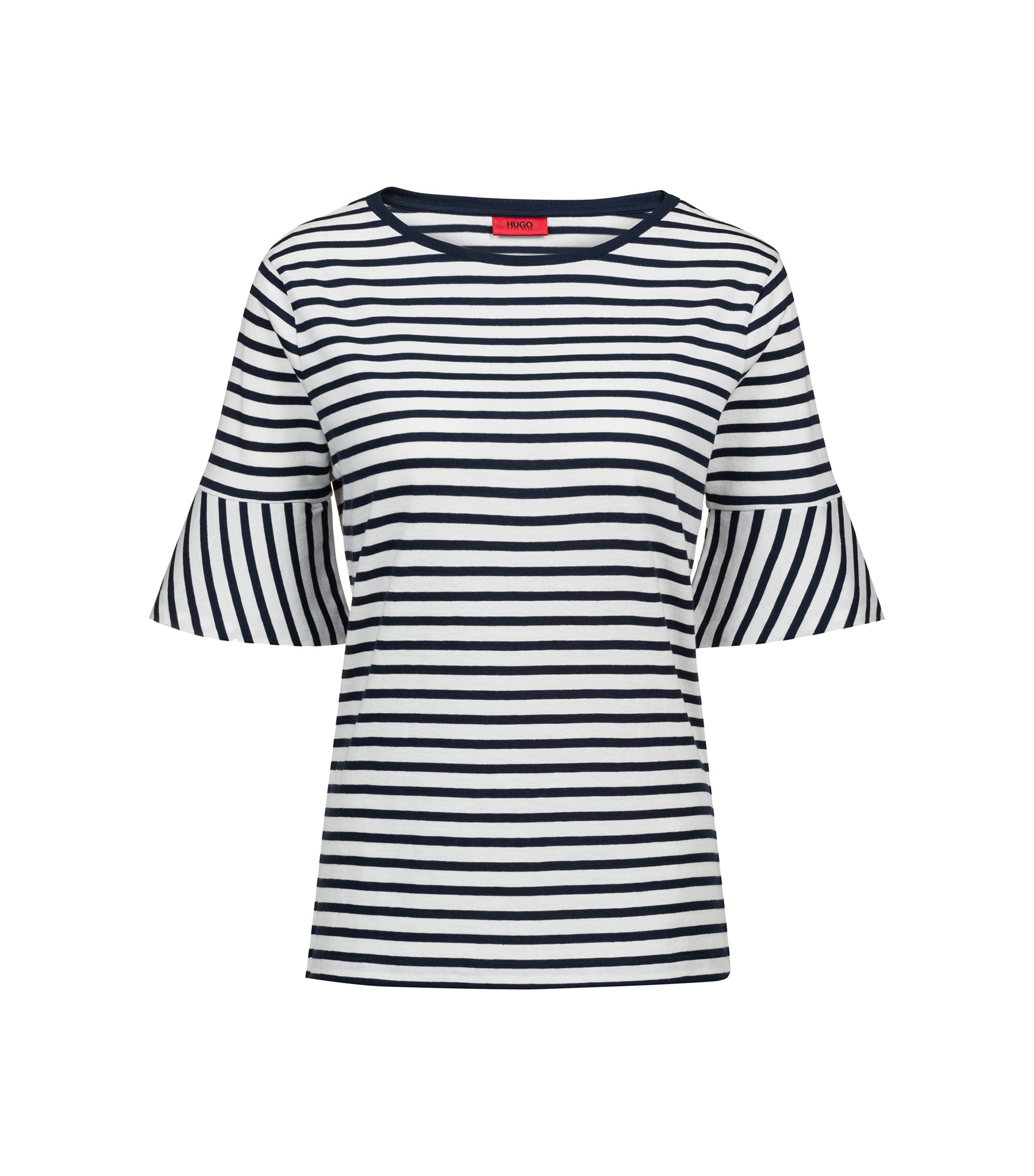 Trumpet-sleeve T-shirt in cotton with woven stripe, Dark Blue
