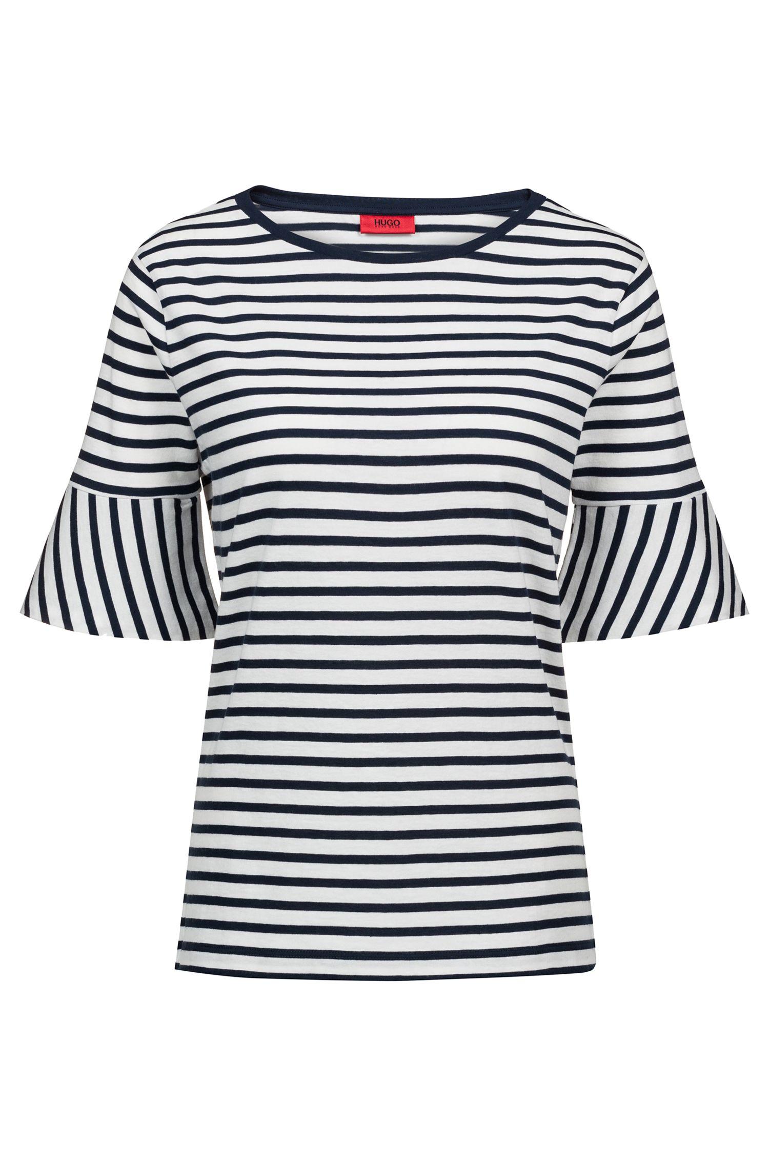 T-shirt van katoen met geweven streep en trompetmouwen, Donkerblauw