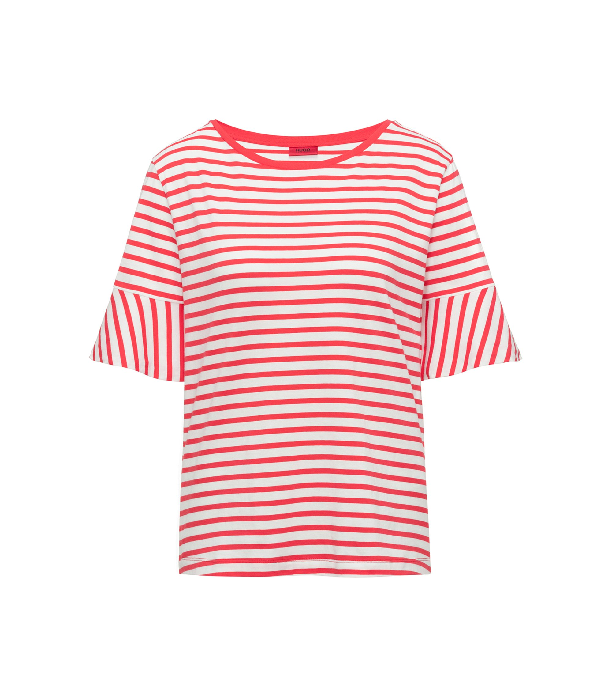 Trumpet-sleeve T-shirt in cotton with woven stripe, Red