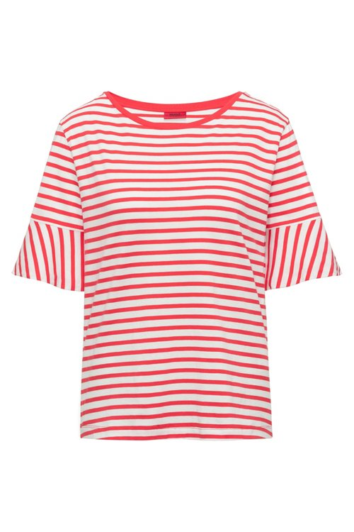 Hugo Boss - Trumpet-sleeve T-shirt in cotton with woven stripe - 1