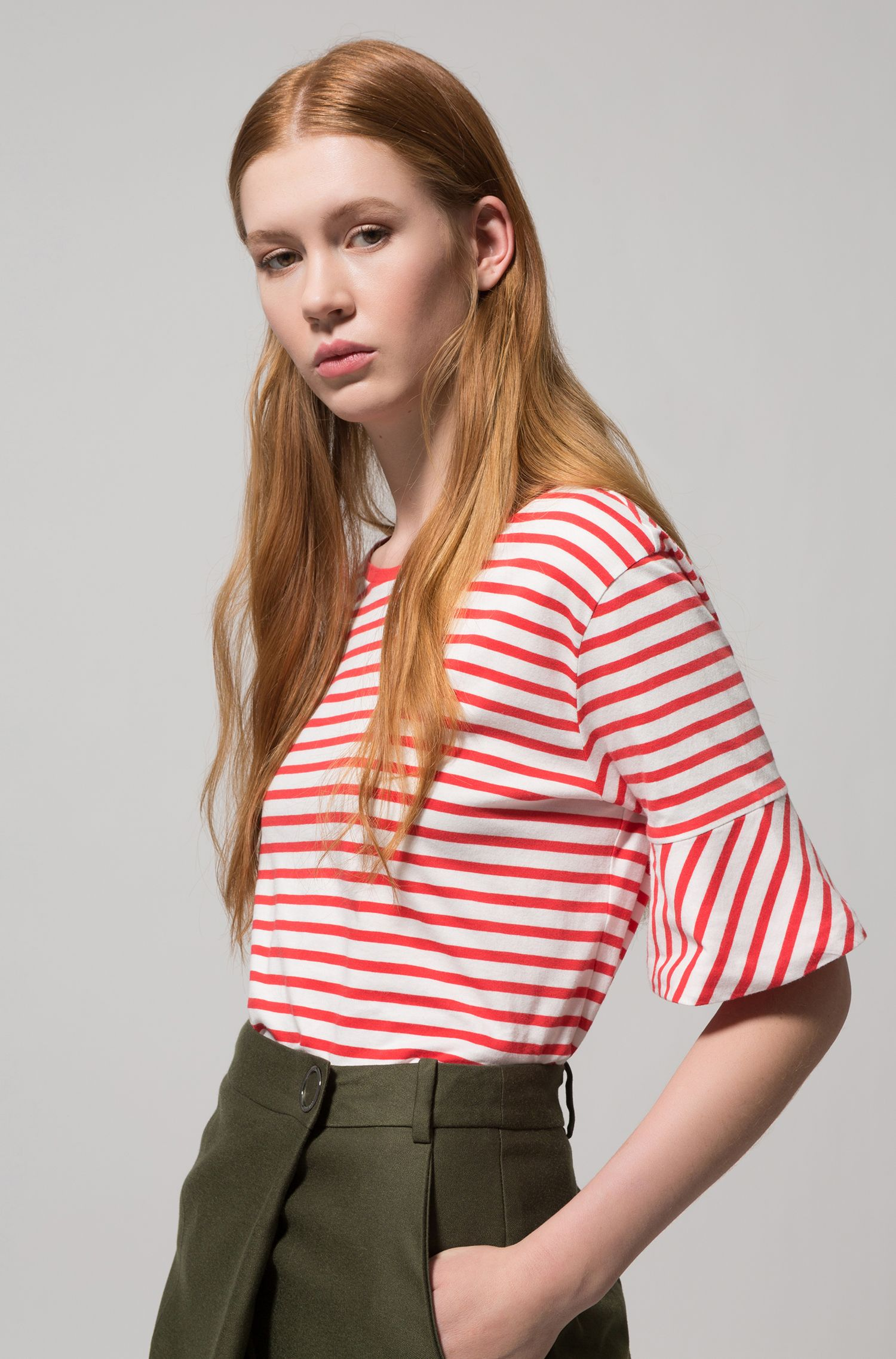 Trumpet-sleeve T-shirt in cotton with woven stripe