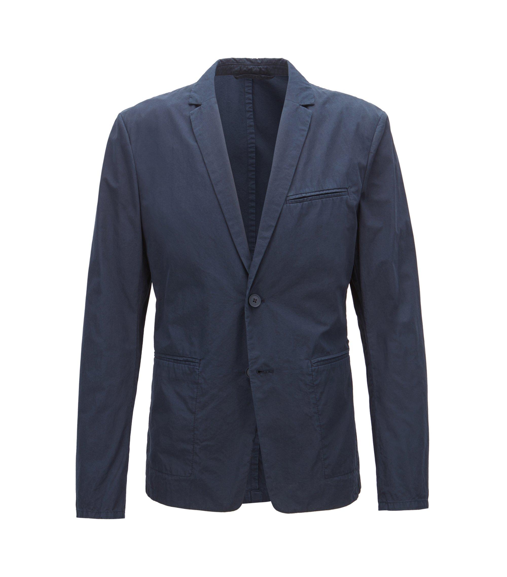 Blazer slim fit in popeline di cotone sovratinto realizzato in Italia, Blu scuro