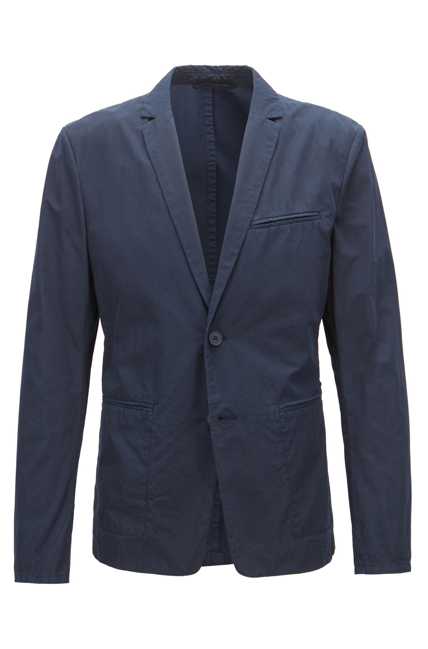Slim-fit blazer in overdyed Italian cotton poplin, Dark Blue