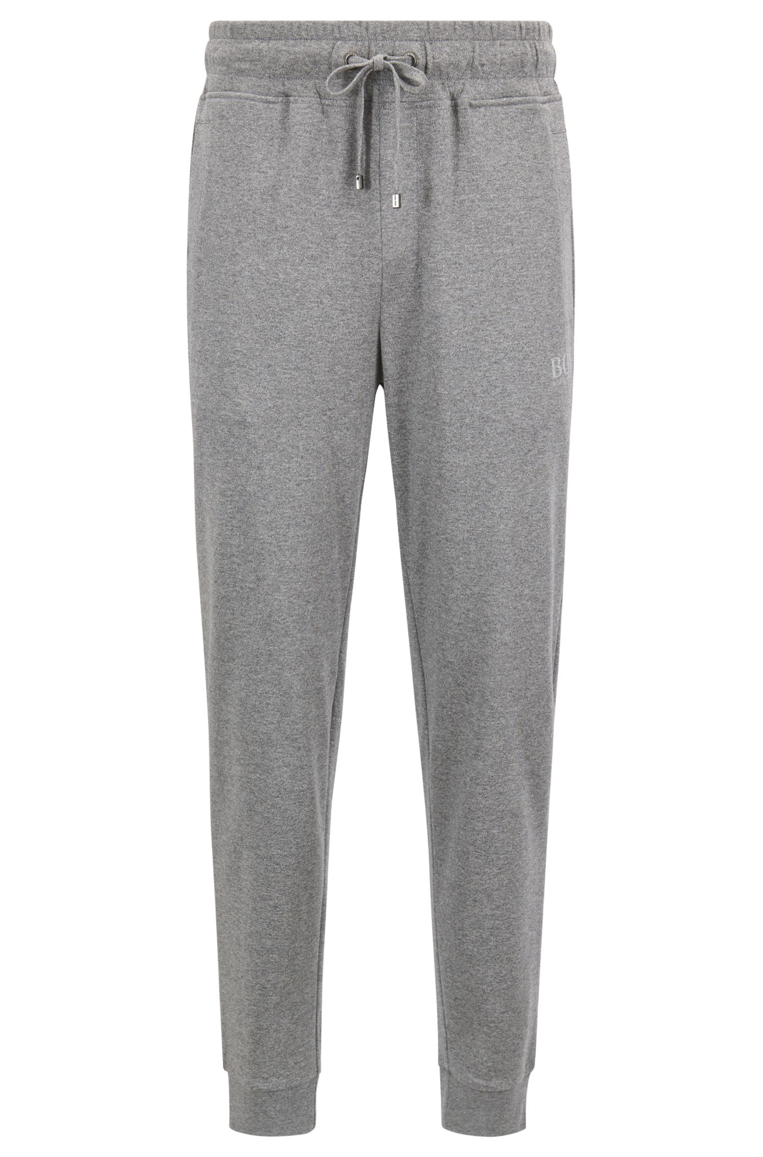 Pantalones loungewear en punto sencillo de algodón jaspeado, Gris