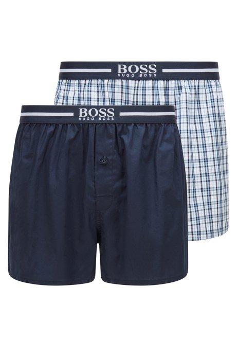 Pyjama-Shorts aus reiner Baumwolle im Zweier-Pack, Dunkelblau