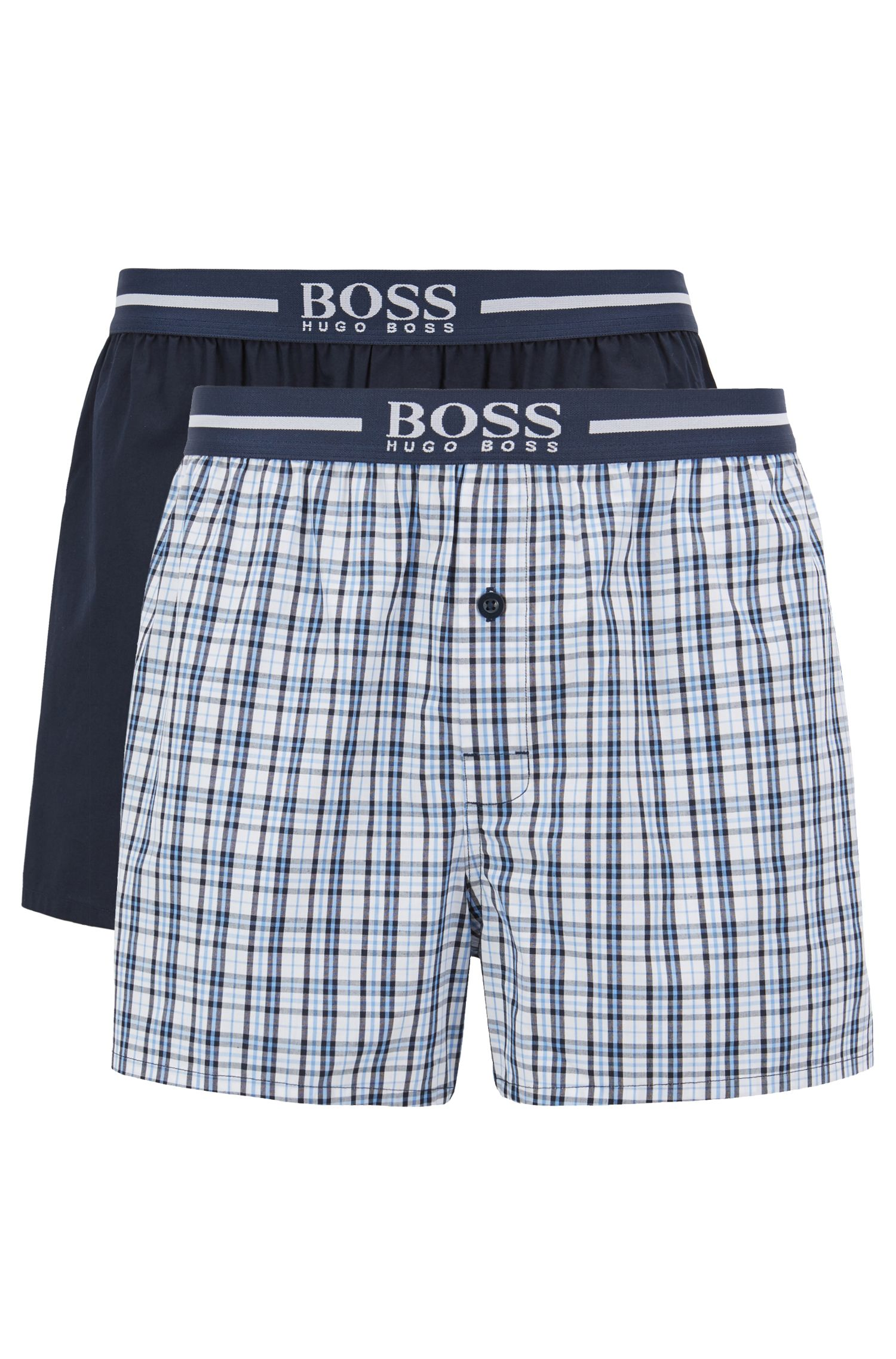 Two-pack of pyjama shorts in woven cotton poplin, Dark Blue