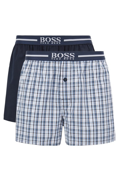 Hugo Boss - Two-pack of pyjama shorts in woven cotton poplin - 1