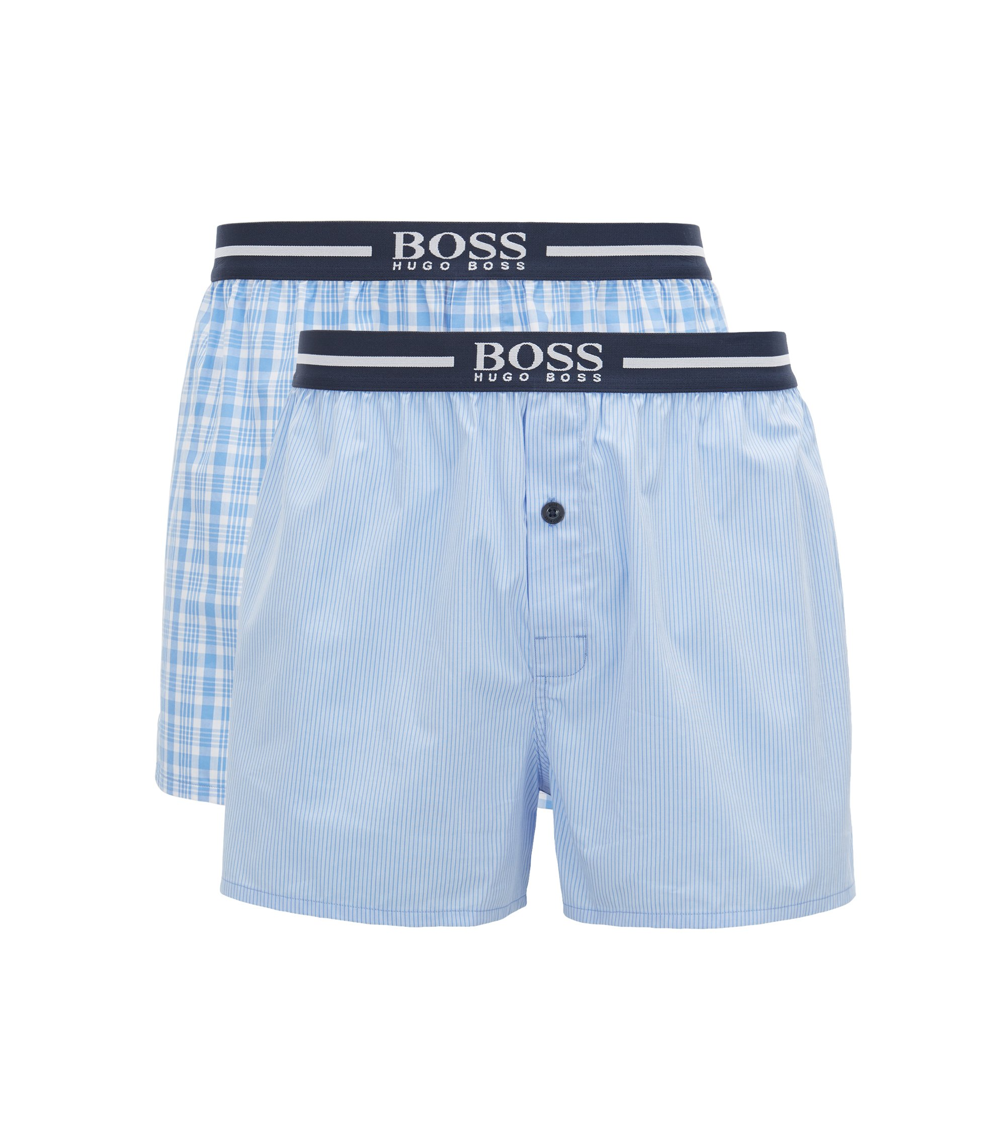 Two-pack of pyjama shorts in woven cotton poplin, Open Blue