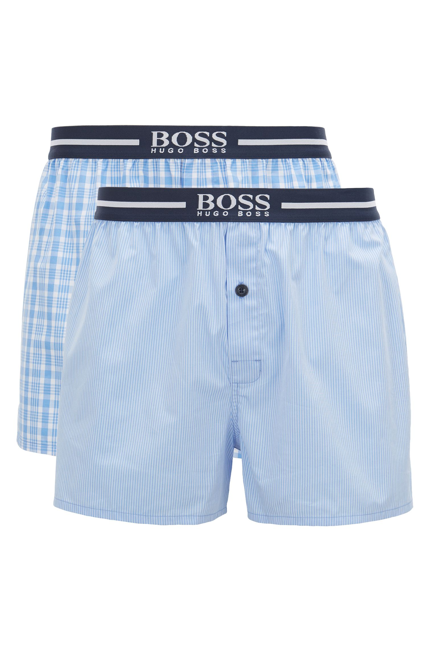 Hugo Boss - Two-pack of pyjama shorts in woven cotton poplin - 1