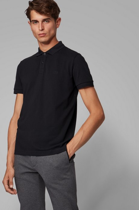 Regular-fit polo shirt in Pima-cotton piqué, Black