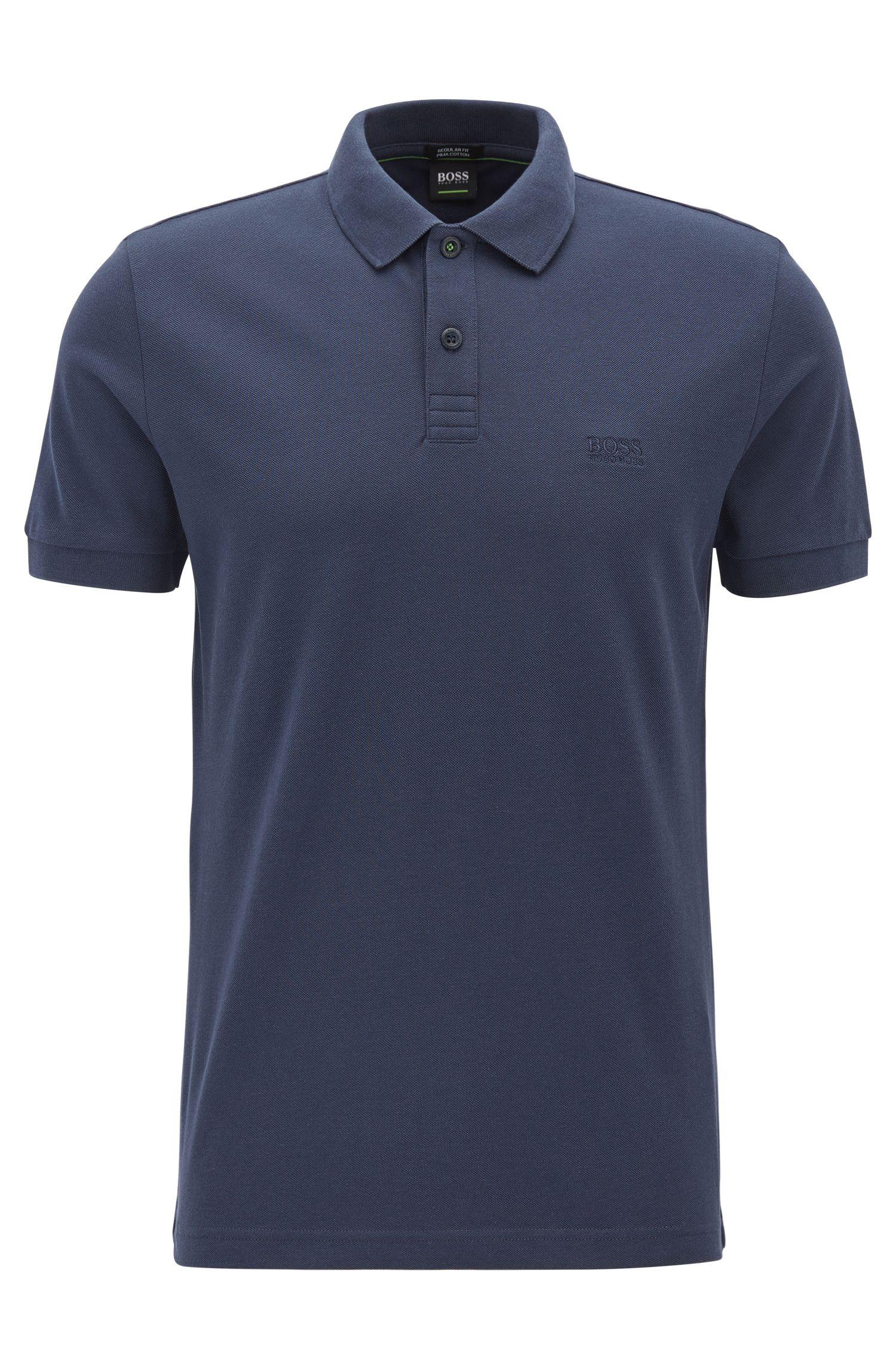 Polo en coton Pima, Bleu foncé