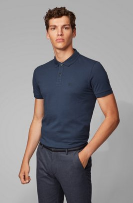 Regular-fit polo shirt in a Pima-cotton blend, Dark Blue