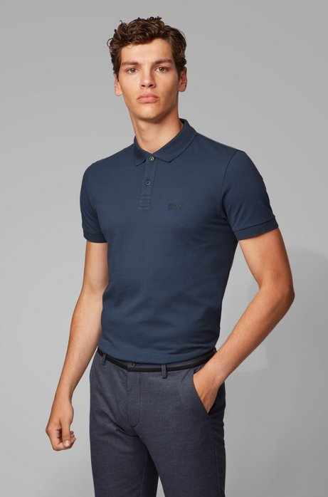 Polo regular fit in piqué di cotone Pima, Blu scuro