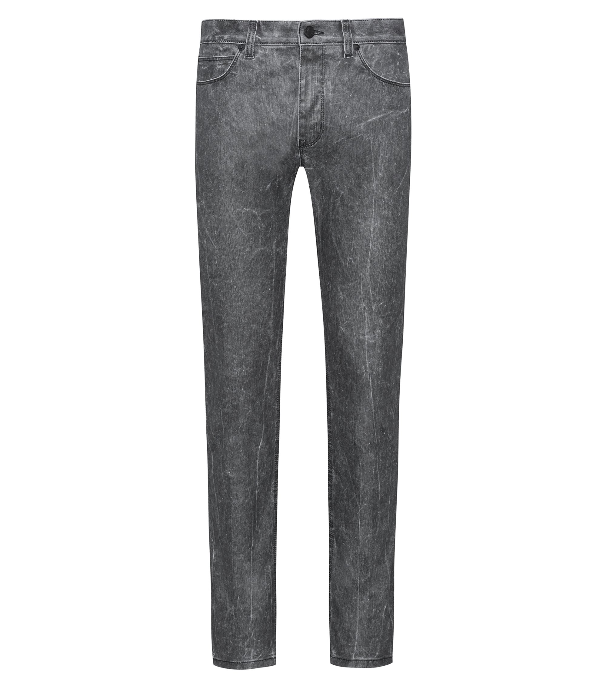 Skinny-Fit Jeans aus Stretch-Denim in strukturierter Optik, Schwarz