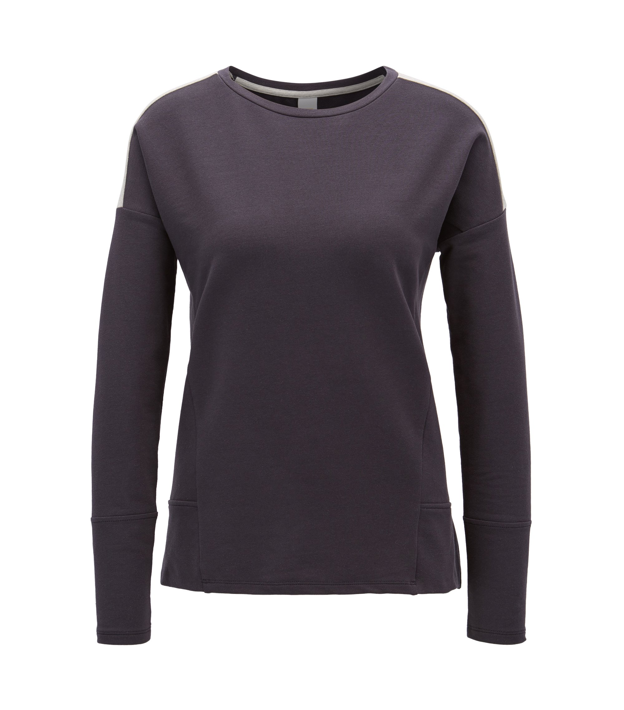Dropped-shoulder sweater in stretch cotton, Dark Blue