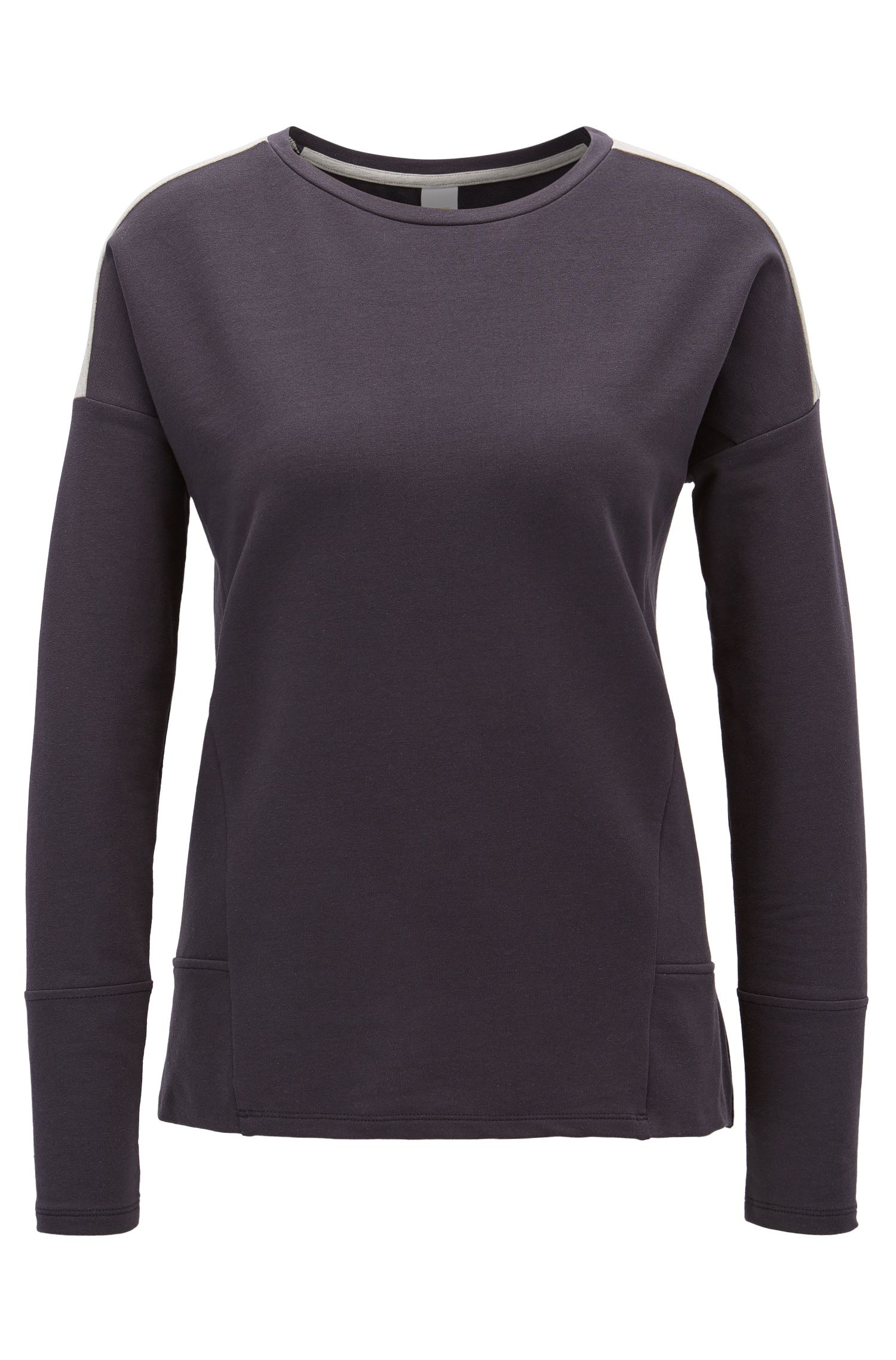 Dropped-shoulder sweater in stretch cotton