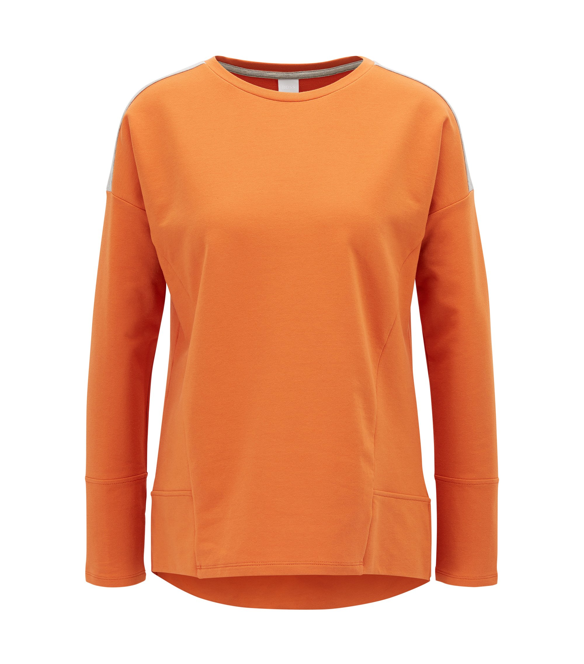 Dropped-shoulder sweater in stretch cotton, Orange