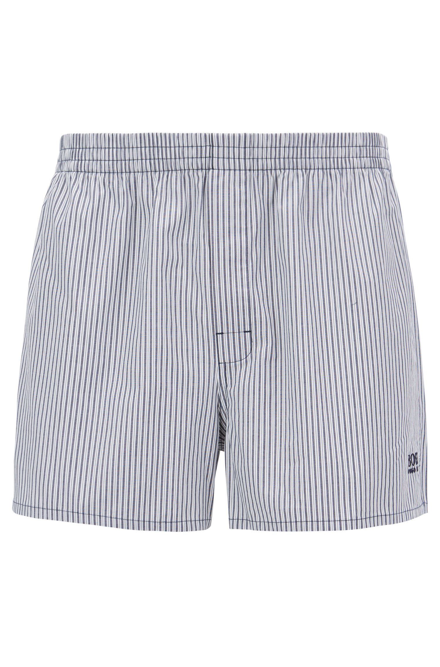 Two-pack of pyjama shorts in pure cotton poplin, Dark Blue