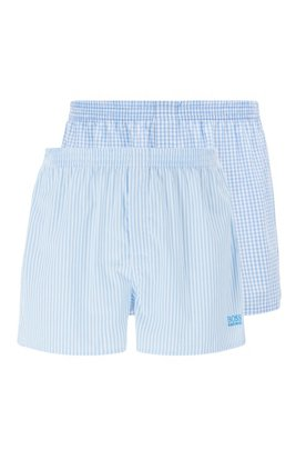 Two-pack of pyjama shorts in cotton poplin, Light Blue