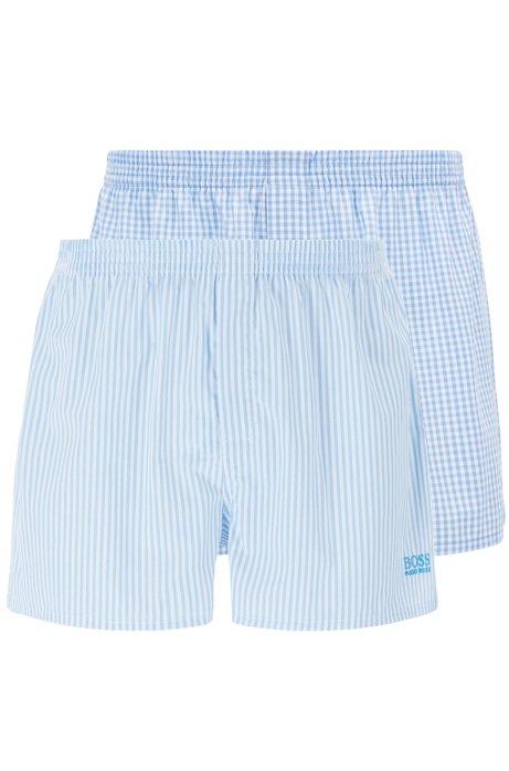 Two-pack of pyjama shorts in cotton poplin, Open Blue