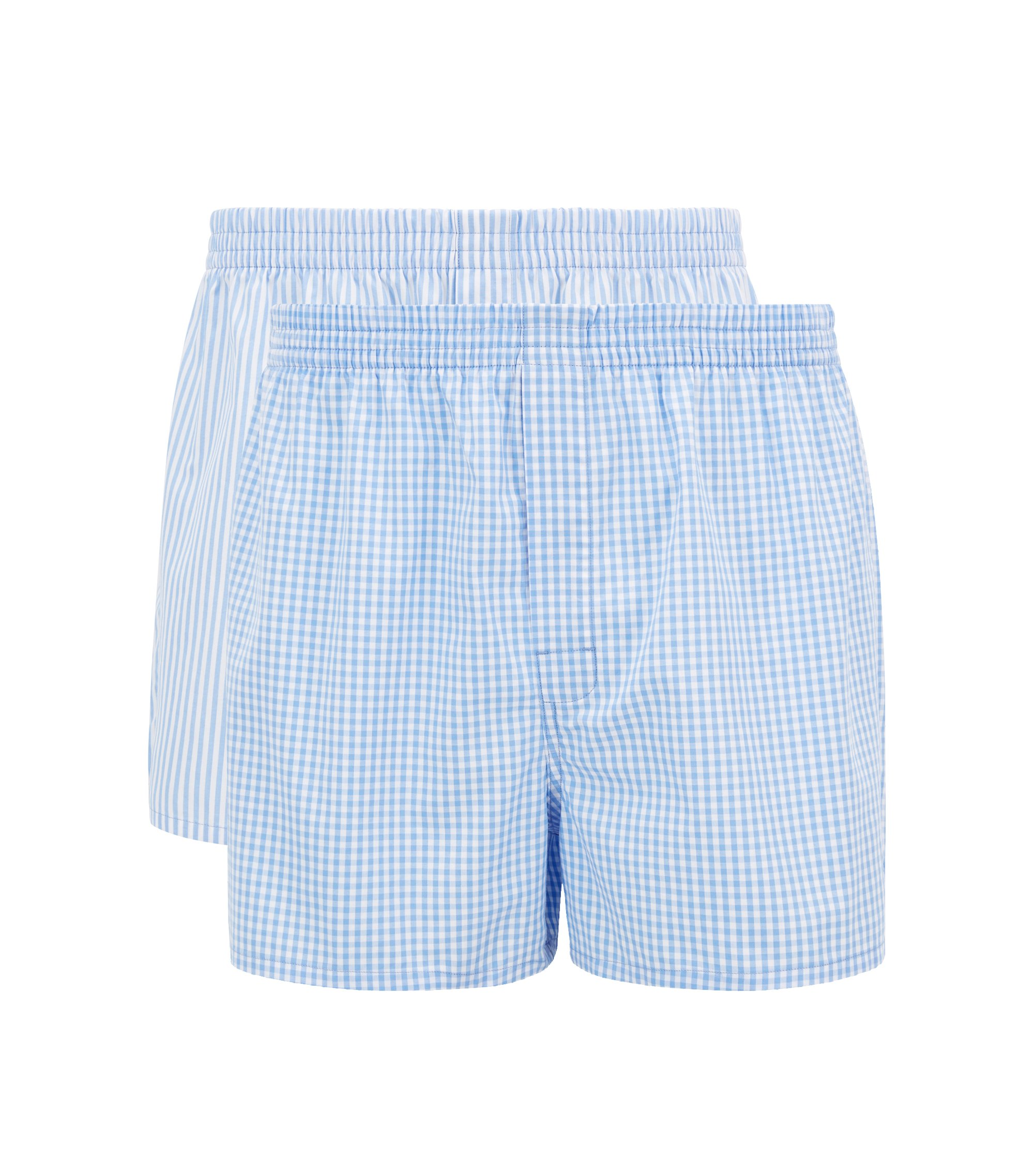 Two-pack of pyjama shorts in pure cotton poplin, Open Blue
