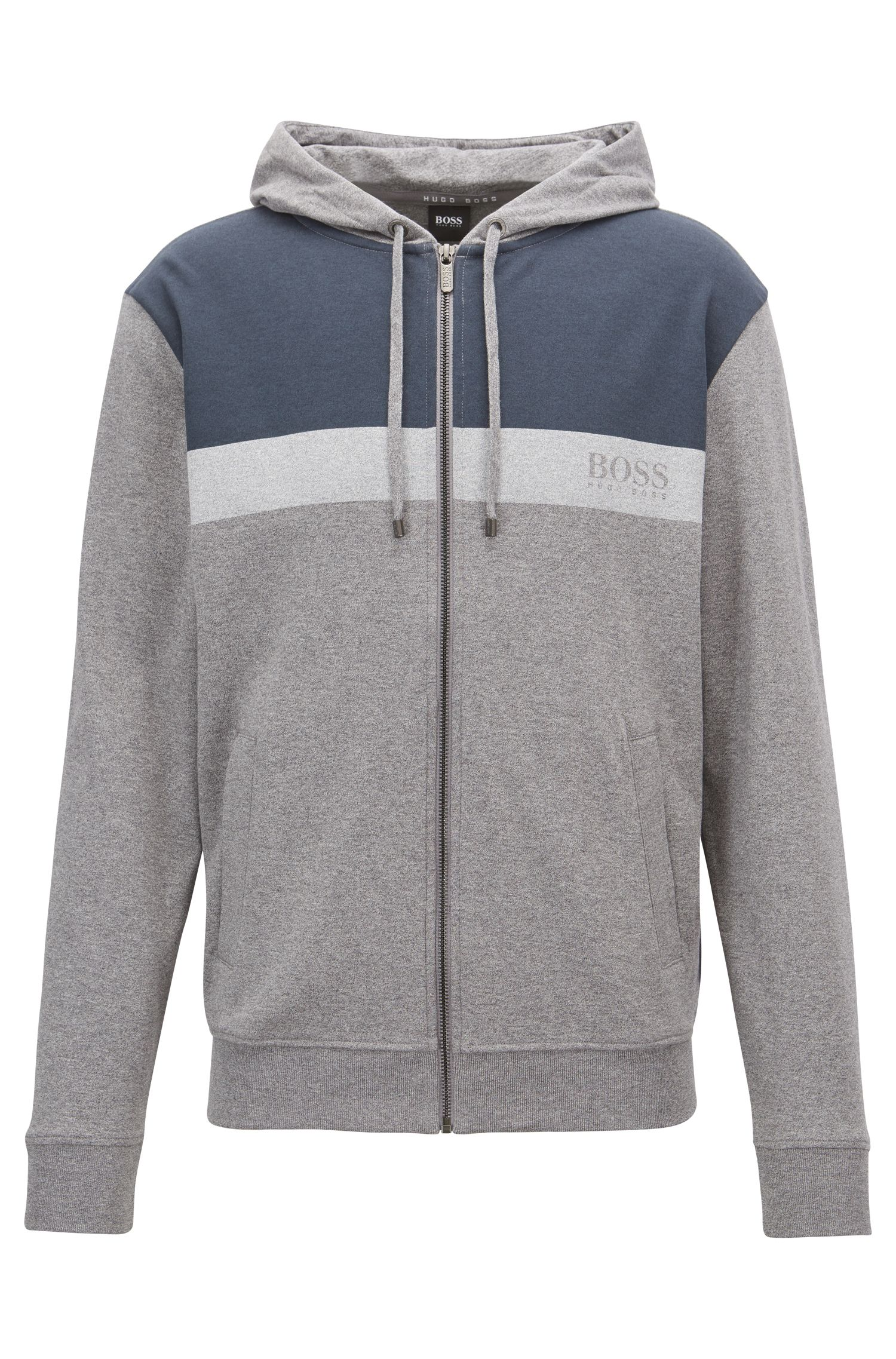 Colourblock loungewear hoodie in cotton jersey, Grey