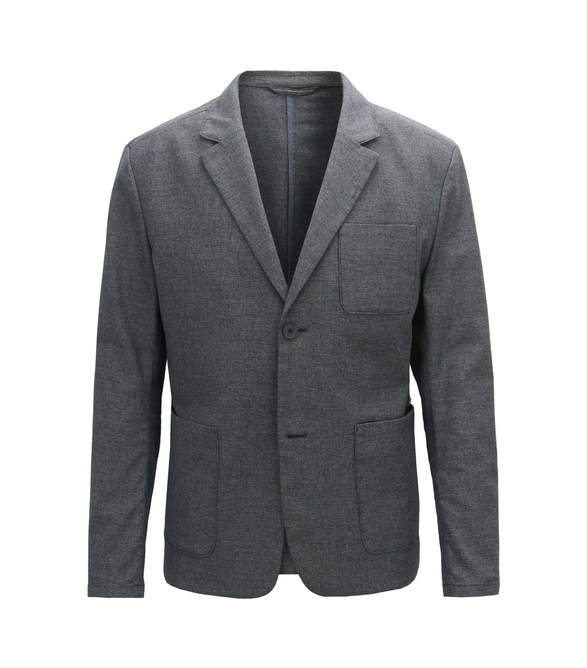 Blazer Slim Fit en coton stretch bicolore, Bleu foncé