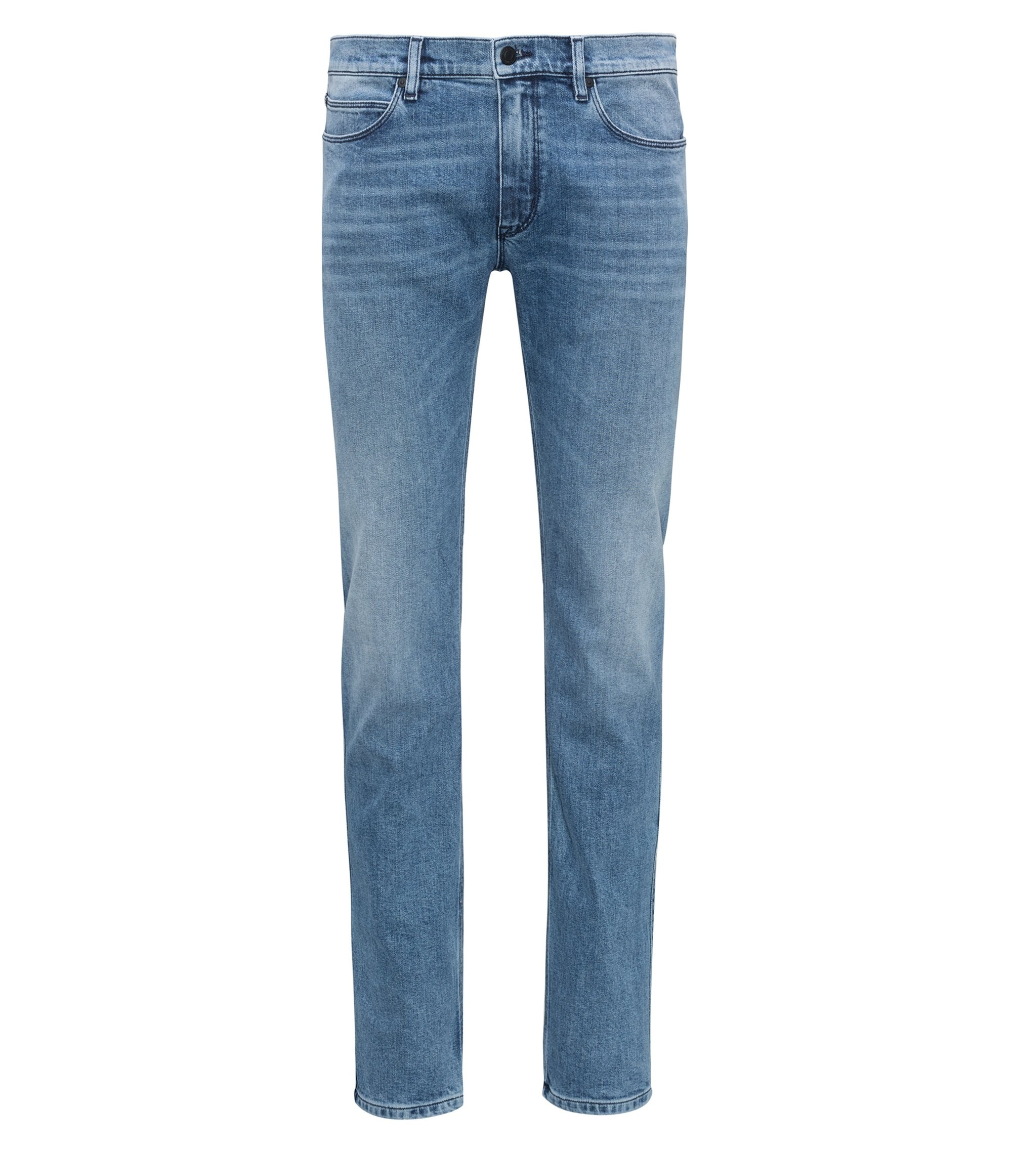 Jeans slim fit in denim elasticizzato blu medio, Blu