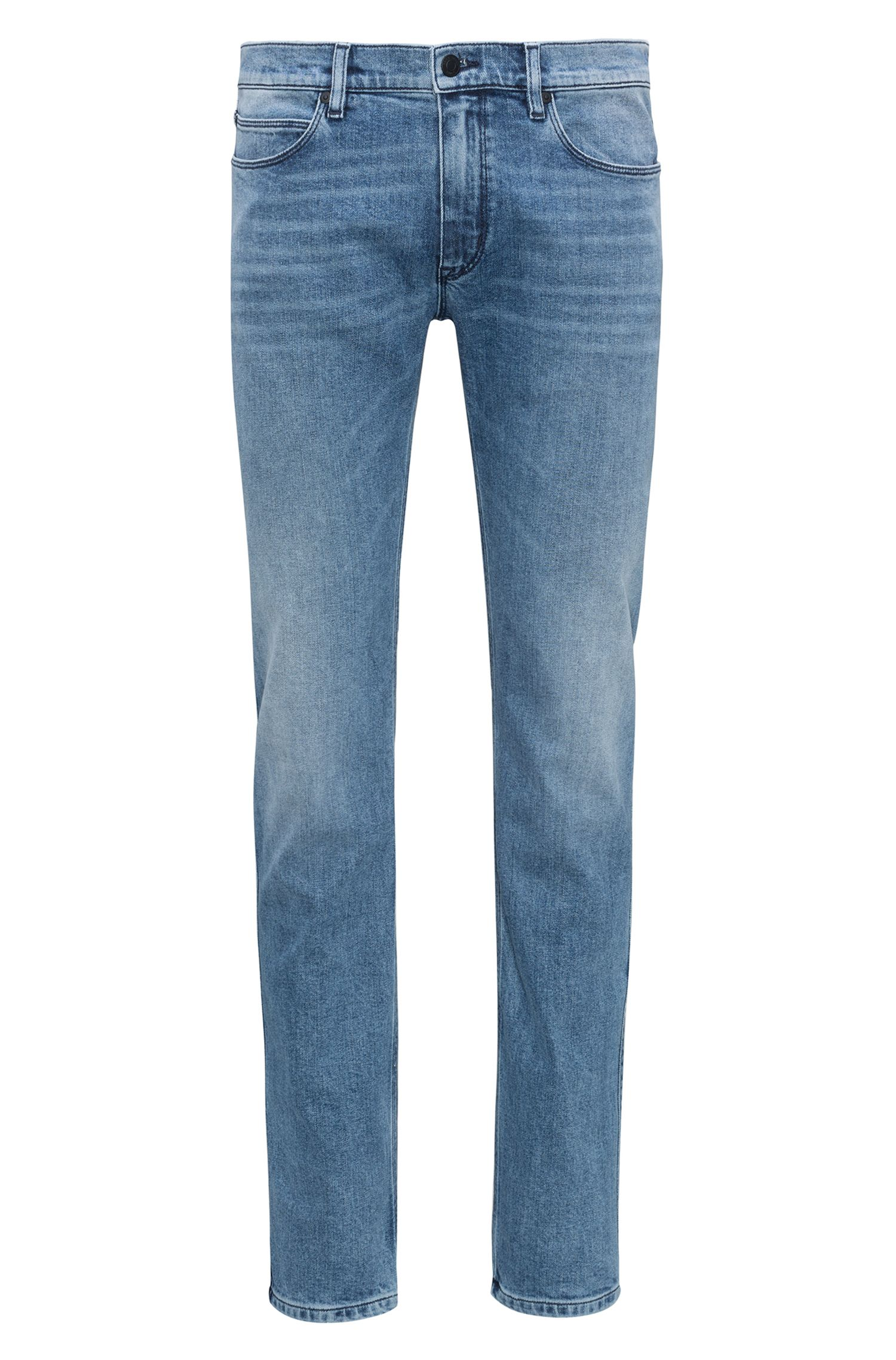 Hugo Boss - Slim-fit jeans in mid-blue stretch denim - 1
